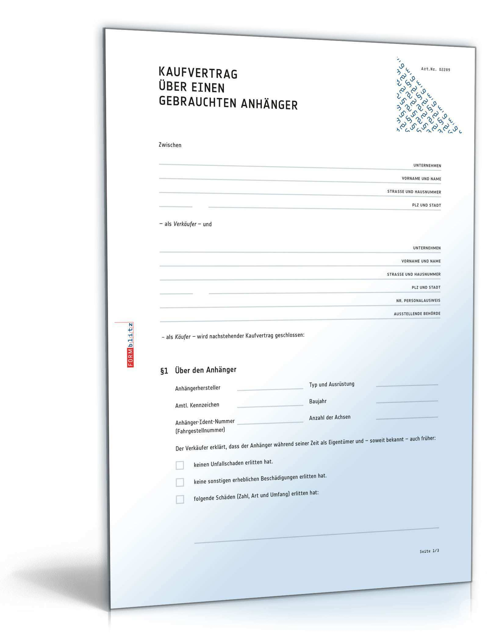 Kaufvertrag Anhanger Rechtssicheres Muster Zum Download