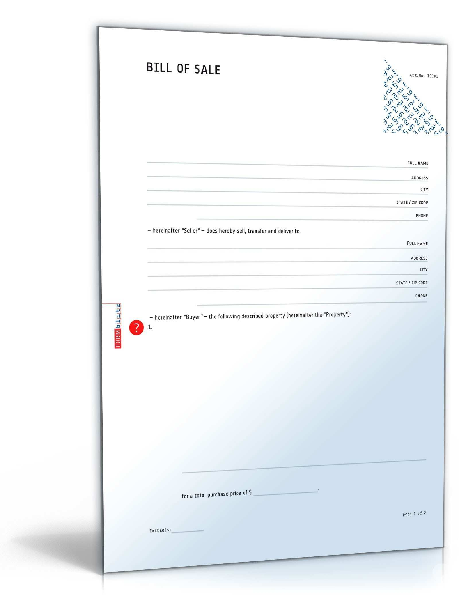General Bill Of Sale As Is Template To Download