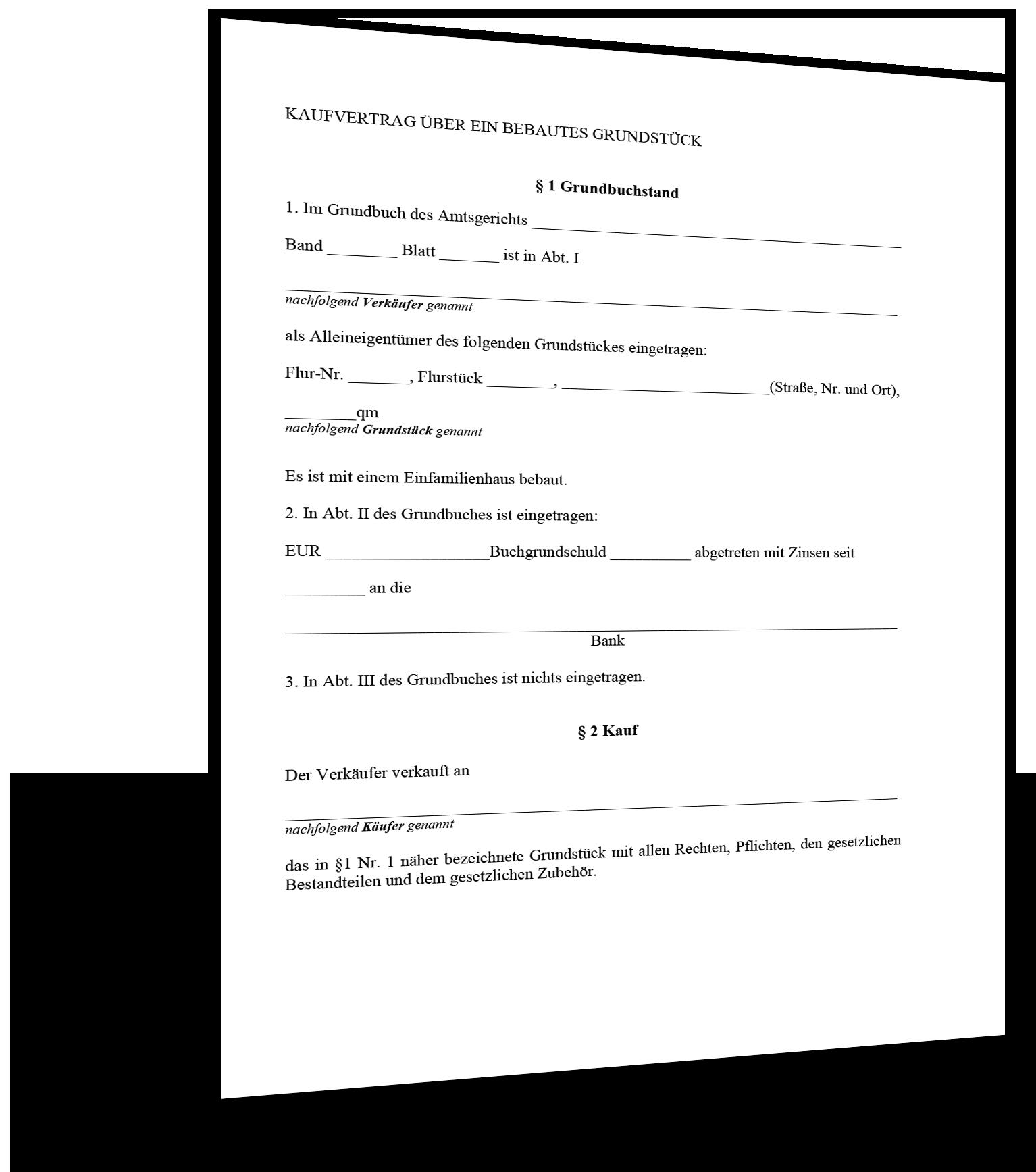 Kaufvertrag Grundstuck Muster Standardvertraege De