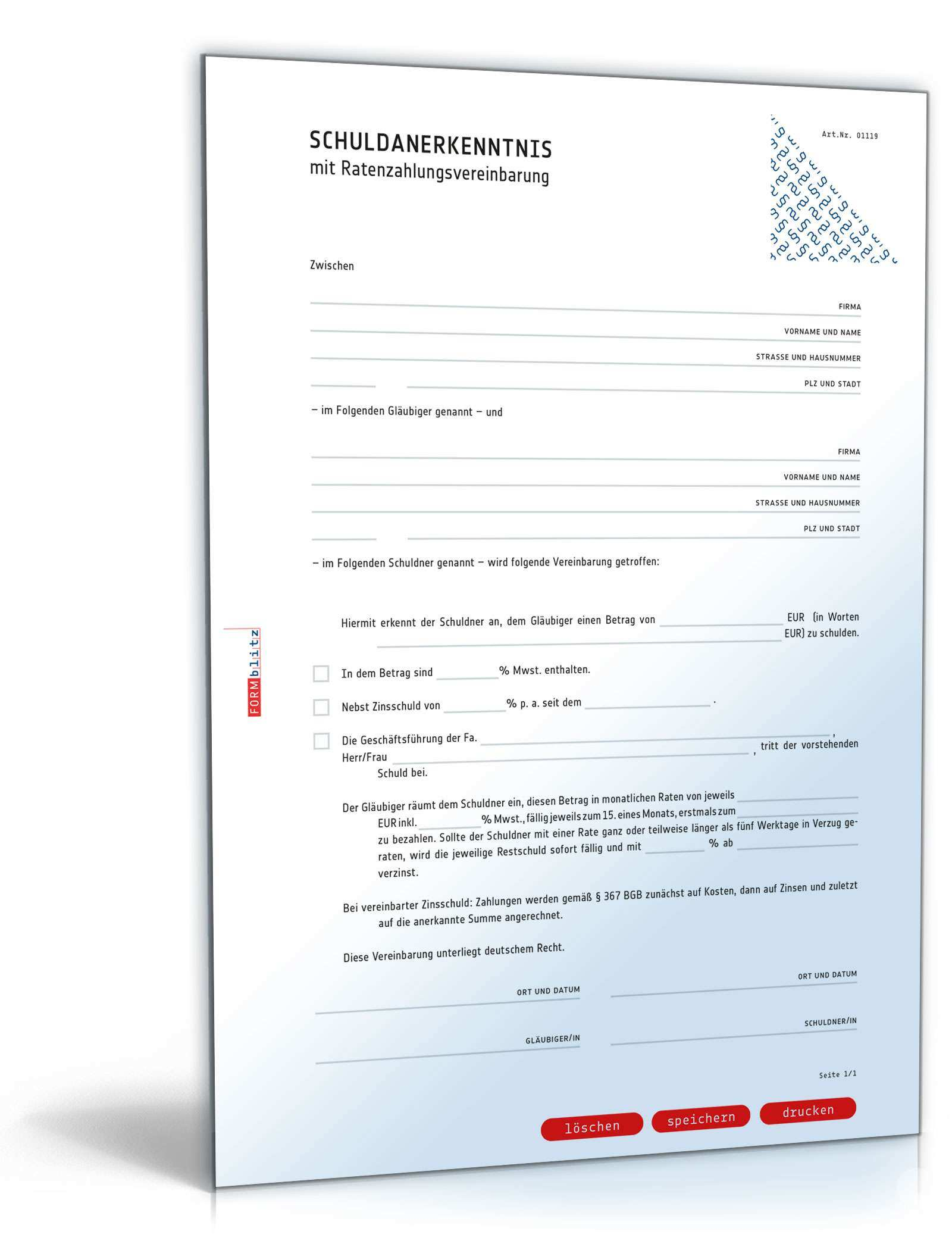 Schuldanerkenntnis Mit Ratenzahlungsvereinbarung Muster Zum Download