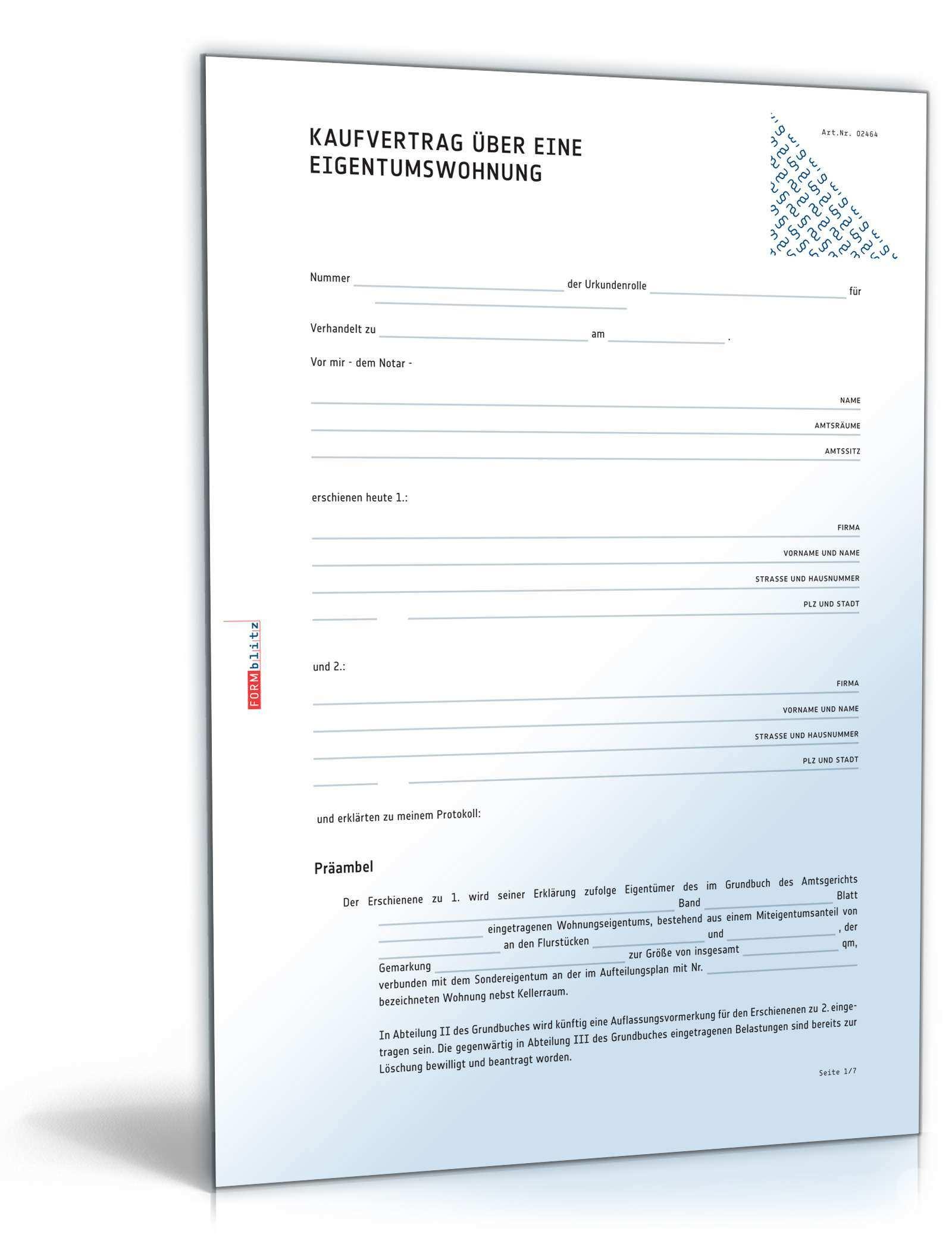 Kaufvertrag Eigentumswohnung Muster Zum Download