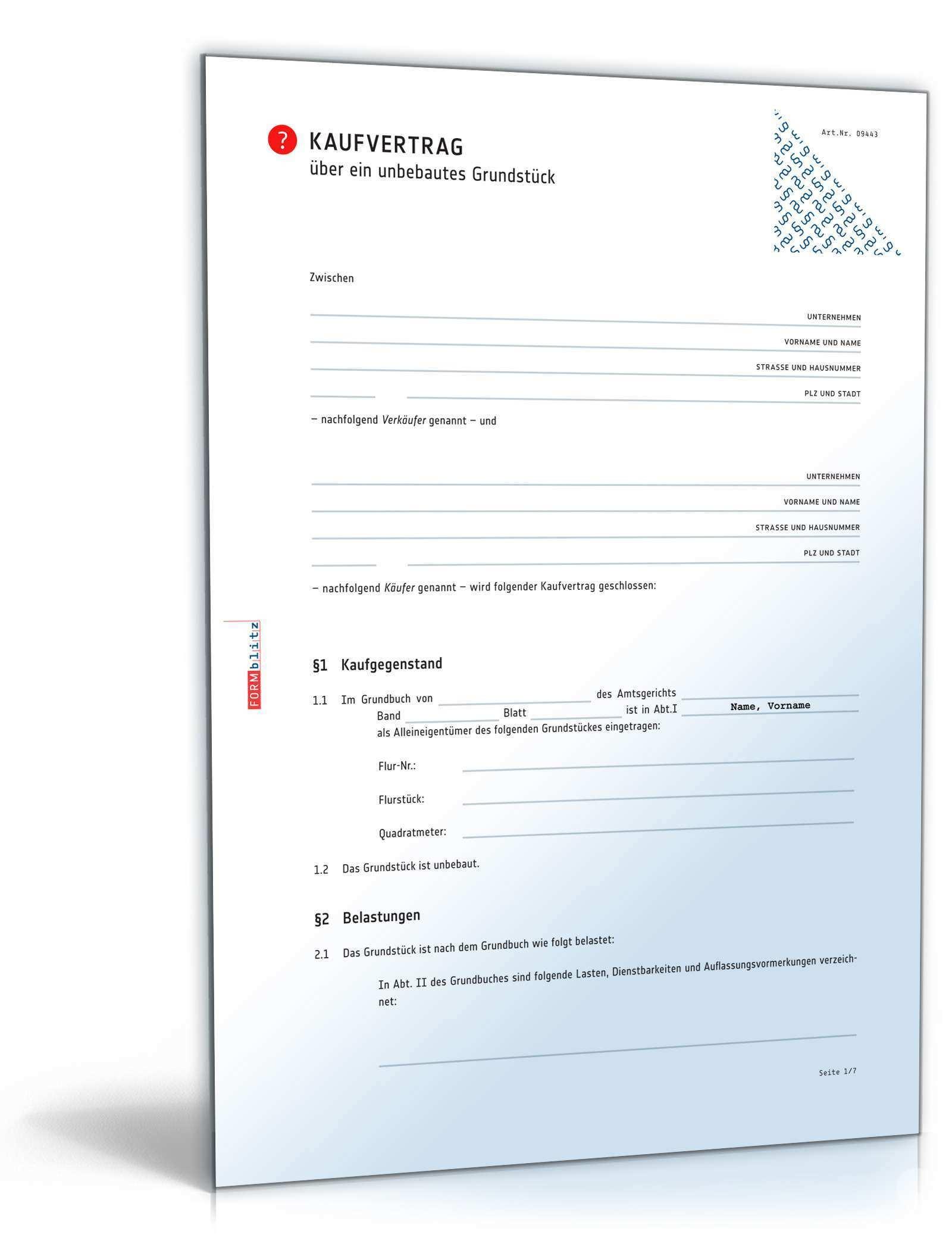 Kaufvertrag Unbebautes Grundstuck Muster Zum Download
