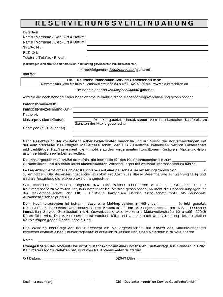 Reservierungsvereinbarung Immobiliemakler 02 2014