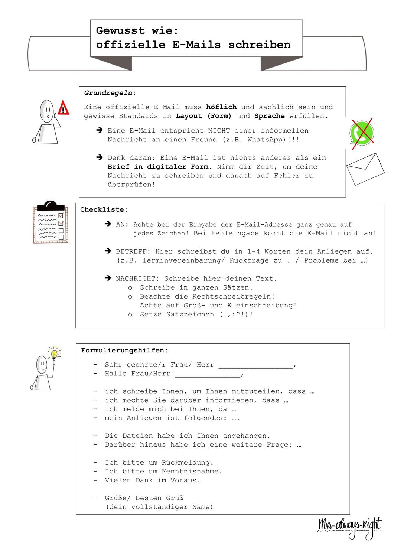 Ubersicht Poster Gewusst Wie Emails Schreiben Lehrerin Und Schuler Schreiben Deutsch Unterricht
