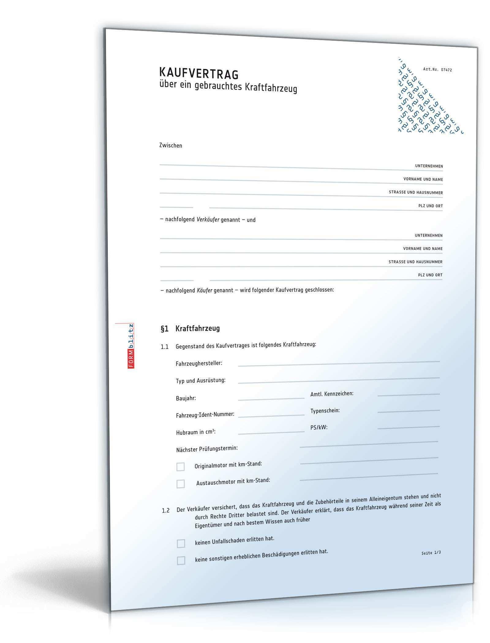 Allgemeiner Kfz Kaufvertrag Privatverkauf Muster Vorlage Zum Download
