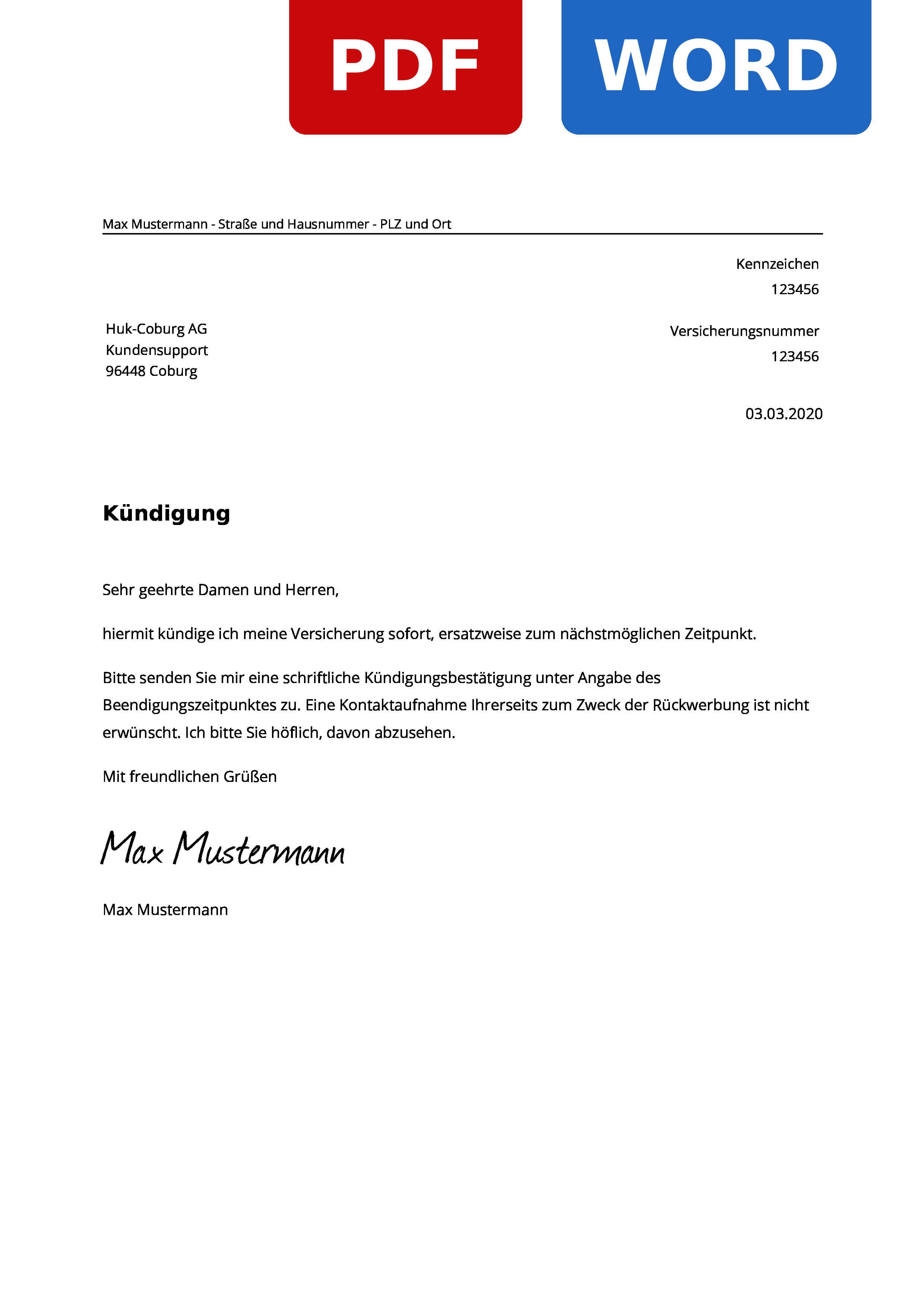 Huk Coburg Kfz Versicherung Kundigung Vorlage
