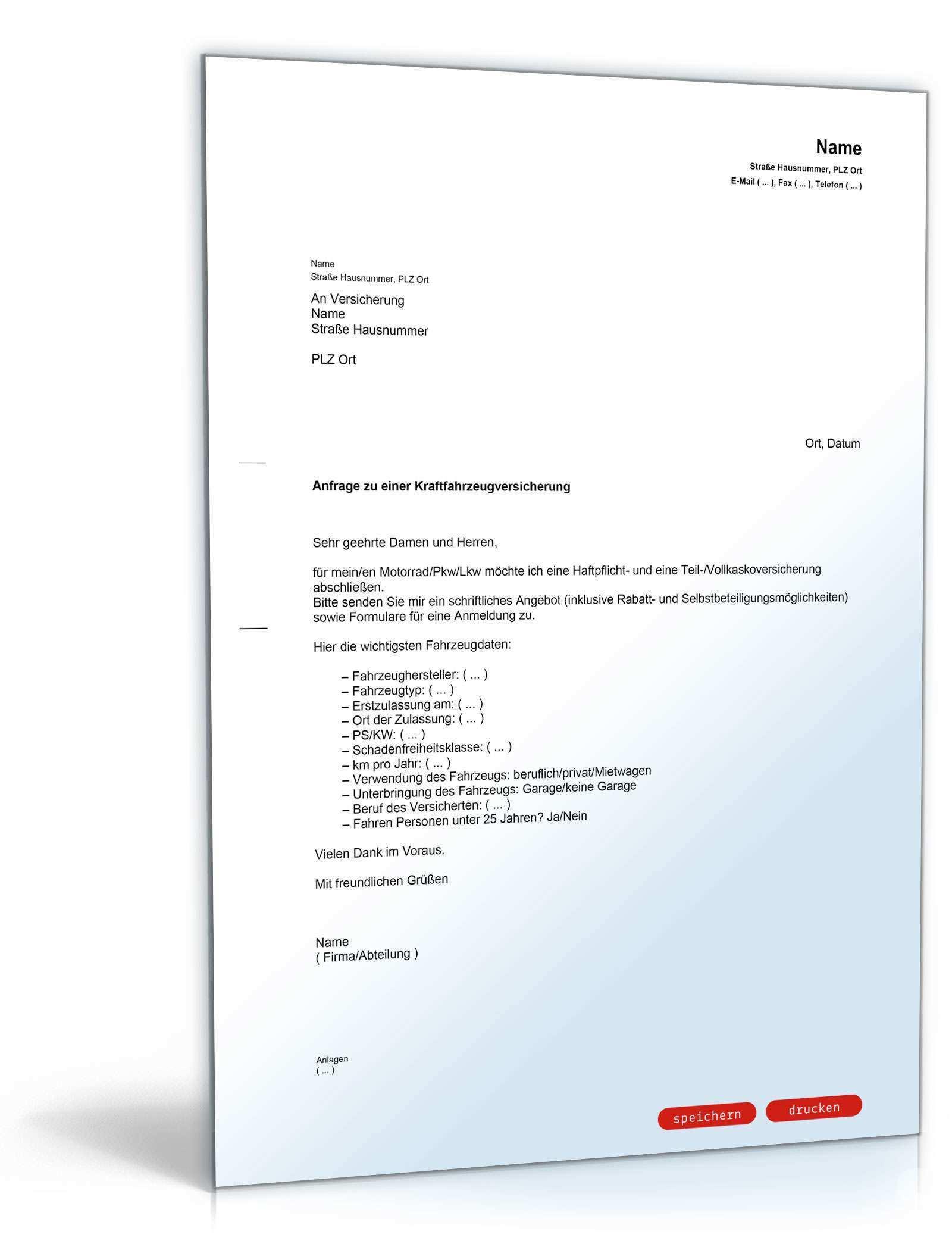 Anfrage Angebot Kfz Versicherung Muster Vorlage Zum Download
