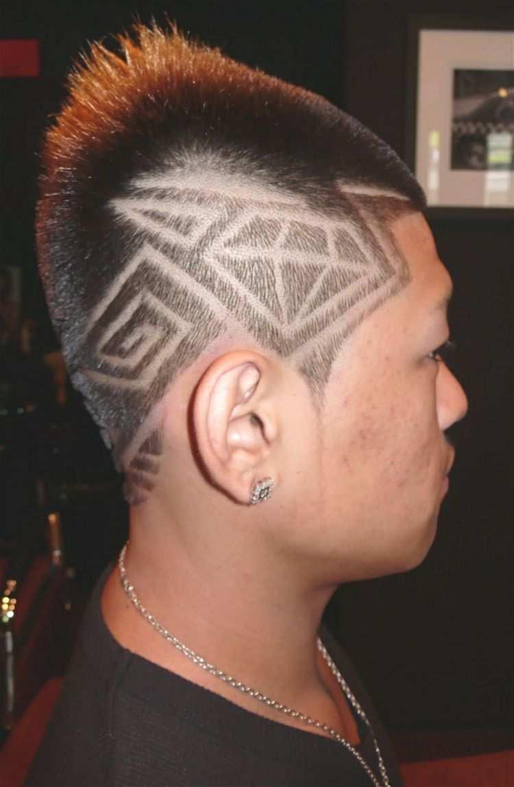 Kurzhaarfrisur Fur Manner Muster Undercut Diamant Idee Ohrring Kette Lockiges Haar Jungs Kinder Frisuren Frisurentrends