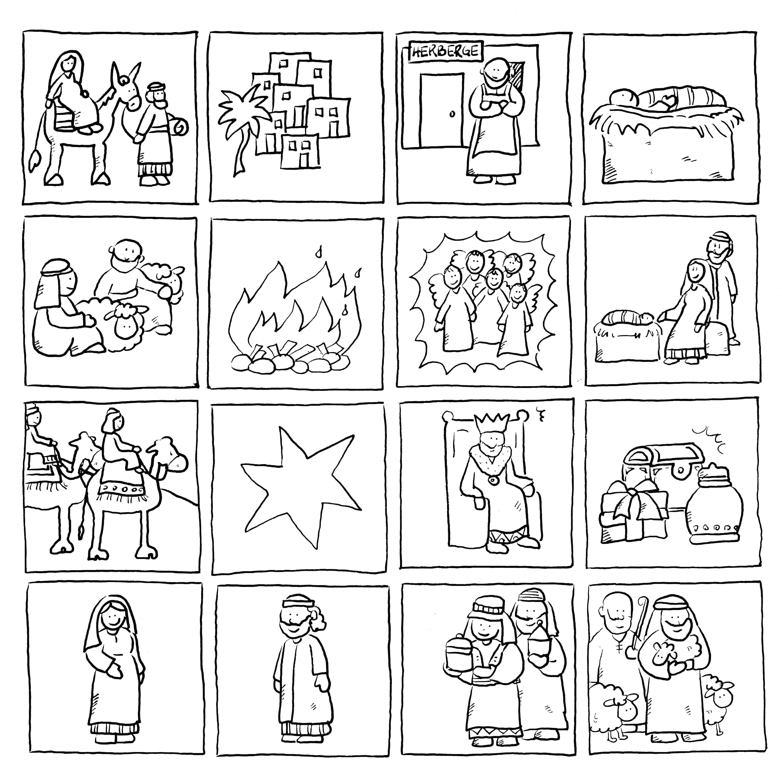 Weihnachtsmemory Ausmalen Zweimal Auf Festes Papier Kopieren Ausschneiden Spielen Weihnachtszeit Basteln Weihnachtsgeschichte Kinderkirche