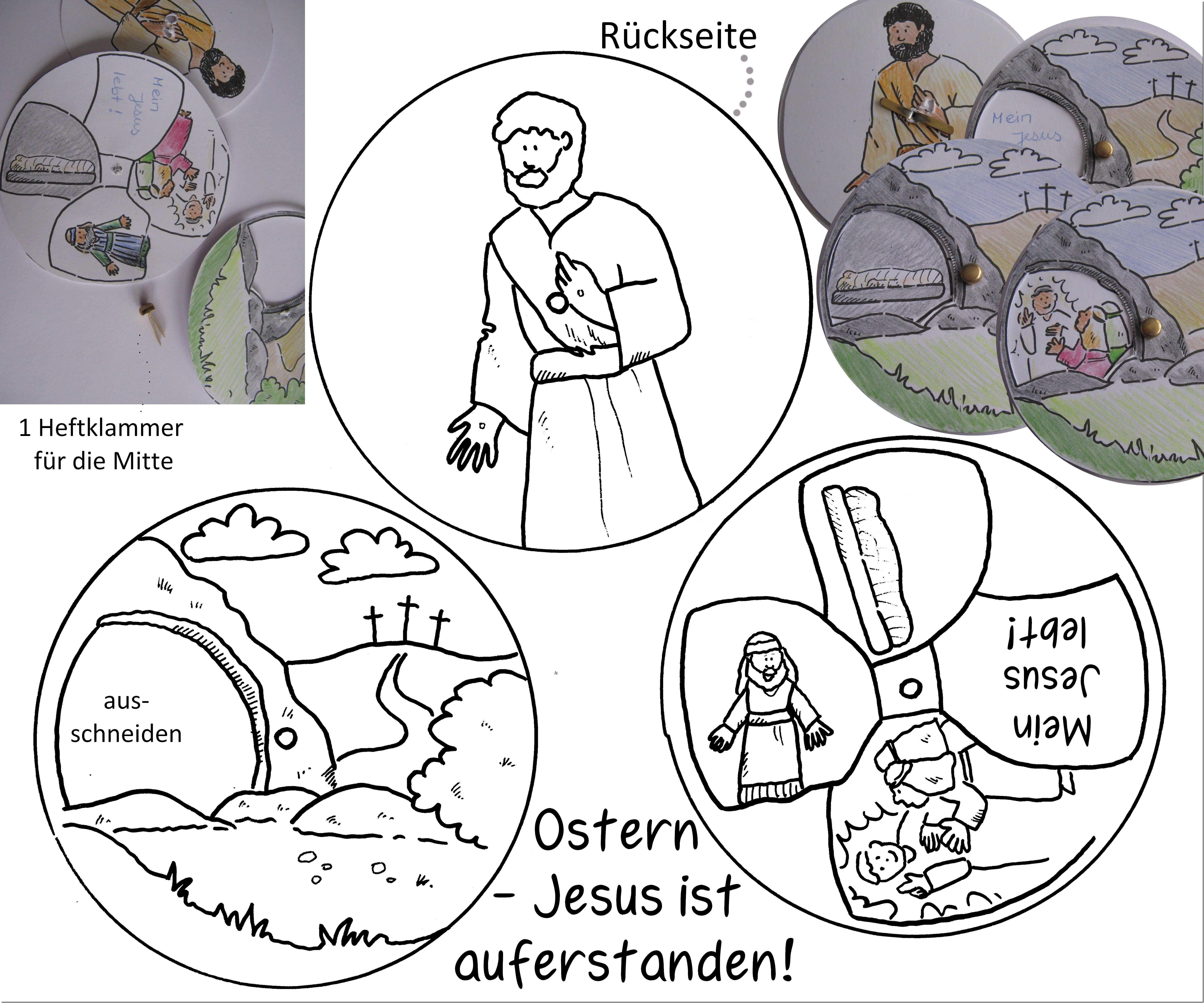Ostern Auferstehung Jesus Lebt Drehscheibe Basteln Ostergeschichte Ostern Grundschule Bibelgeschichten Basteln Ostern Kinder