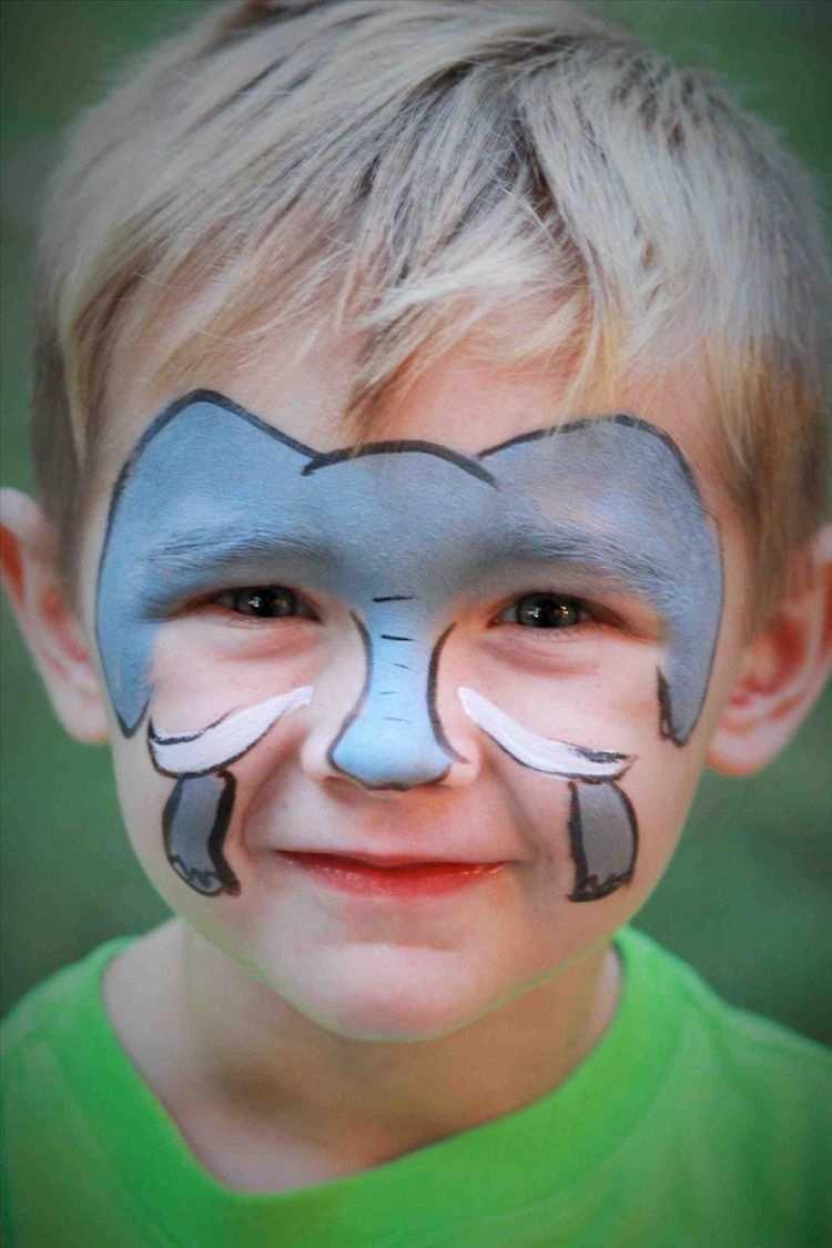 Kinderschminken Jungen Motive Elefant Gesicht Makeup Fasching Kinder Schminken Kinderschminken Motive Kinderschminken