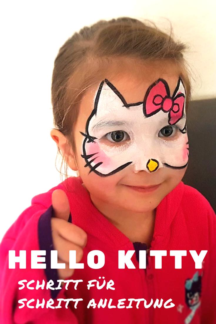 Hello Kitty Katzengesicht Schminken Vorlage Und Anleitung Kinder Schminken Katzengesicht Schminken Katze Schminken Kinder