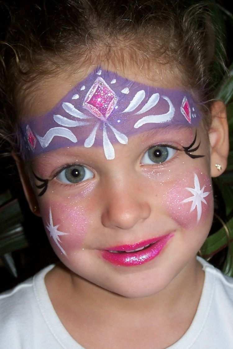 Eiskonigin Prinzessin Elsa Gesicht Make Up Karneval Kinder Schminken Kinderschminken Gesichtsbemalung