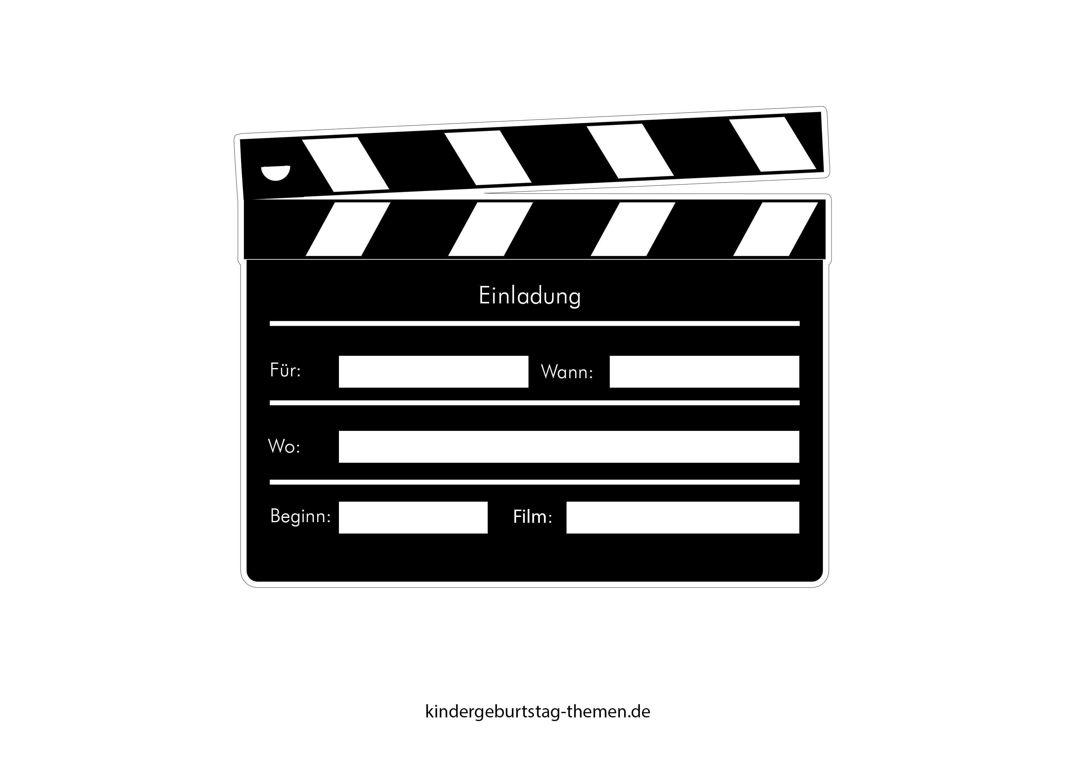 Kino Einladung Druckvorlage Fur Popcorn Karte Und Filmklappe Einladung Kindergeburtstag Einladungen Einladungskarten Kindergeburtstag