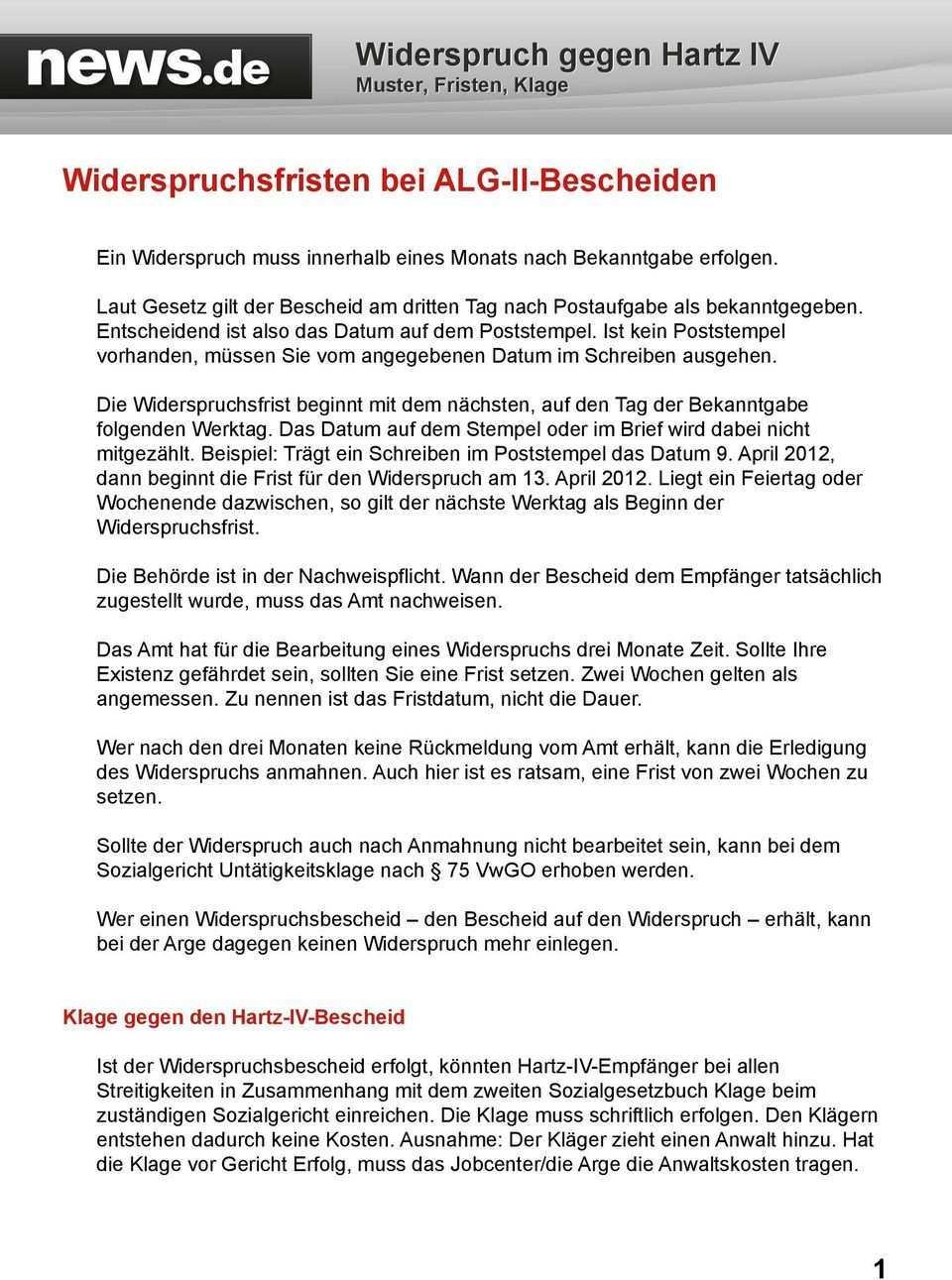 Widerspruch Gegen Hartz Iv Muster Fristen Klage Pdf Kostenfreier Download