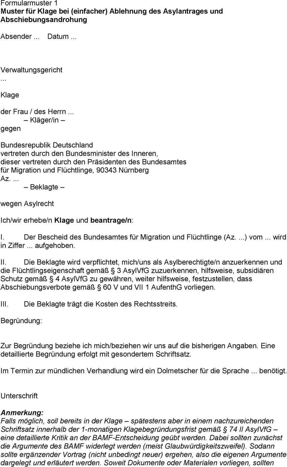 Formularmuster 1 Muster Fur Klage Bei Einfacher Ablehnung Des Asylantrages Und Abschiebungsandrohung Pdf Free Download