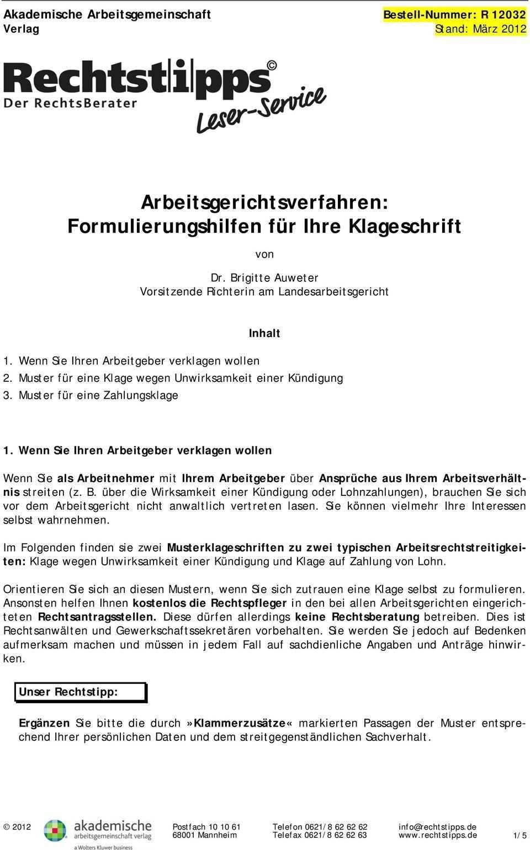 Arbeitsgerichtsverfahren Formulierungshilfen Fur Ihre Klageschrift Pdf Kostenfreier Download