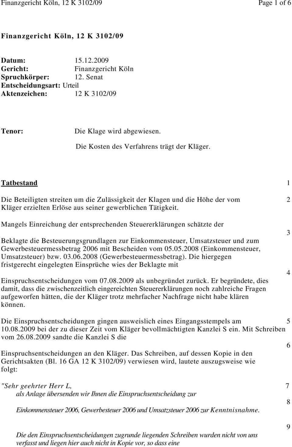 Finanzgericht Koln 12 K 3102 09 Page 1 Of 6 Pdf Free Download