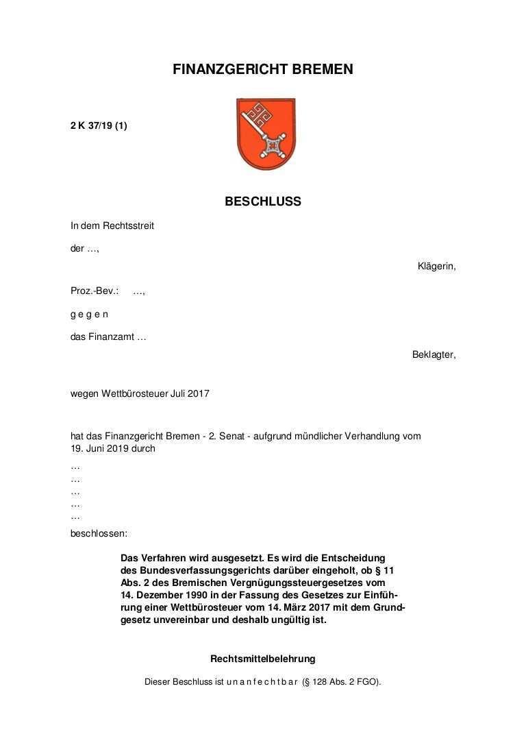 Fg Bremen Vorlage An Das Bundesverfassungsgericht