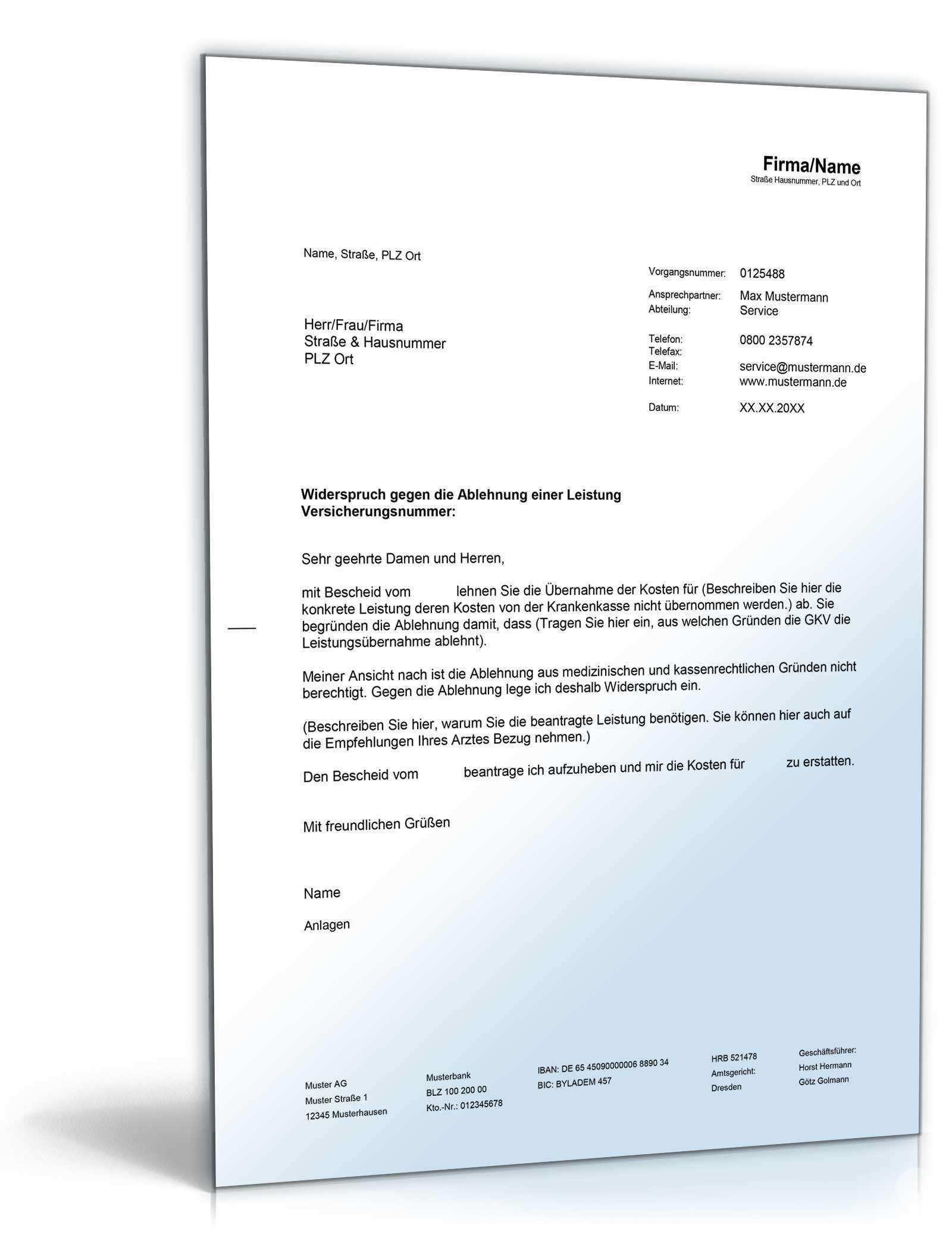 Widerspruch Verweigerung Einer Leistung Durch Die Gkv Muster Zum Download
