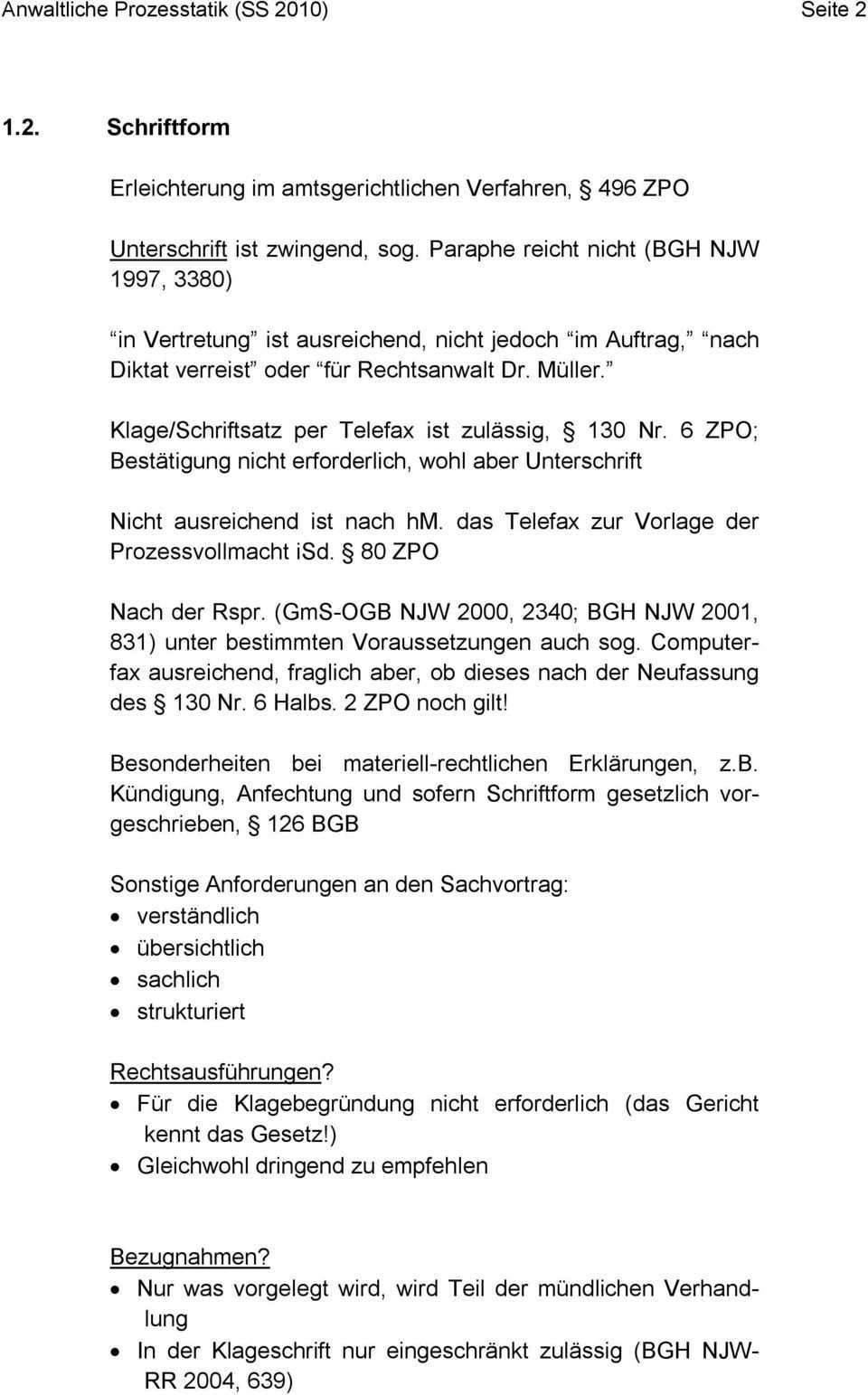 Anwaltliche Prozesstaktik Spb 2 Sommersemester 2010 Hs Pdf Kostenfreier Download