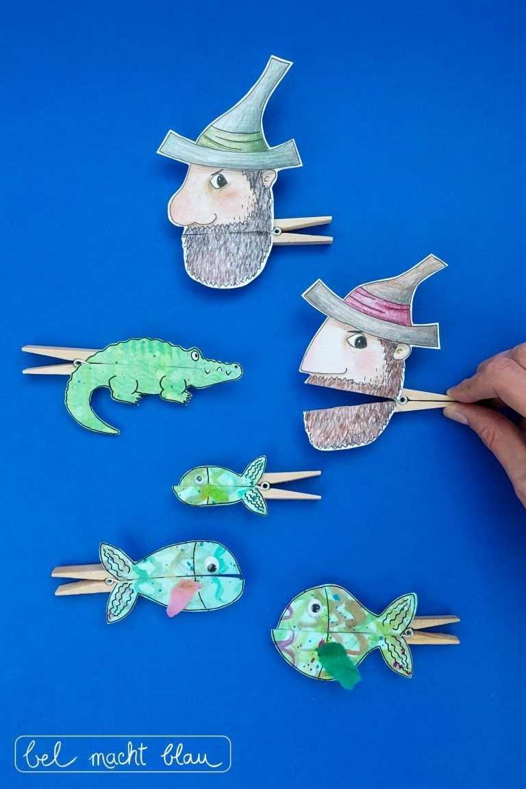 Unsere Liebsten Tischspruche Und Lustige Klammerfiguren Bel Macht Blau Fische Basteln Marchen Basteln Basteln Mit Kindern