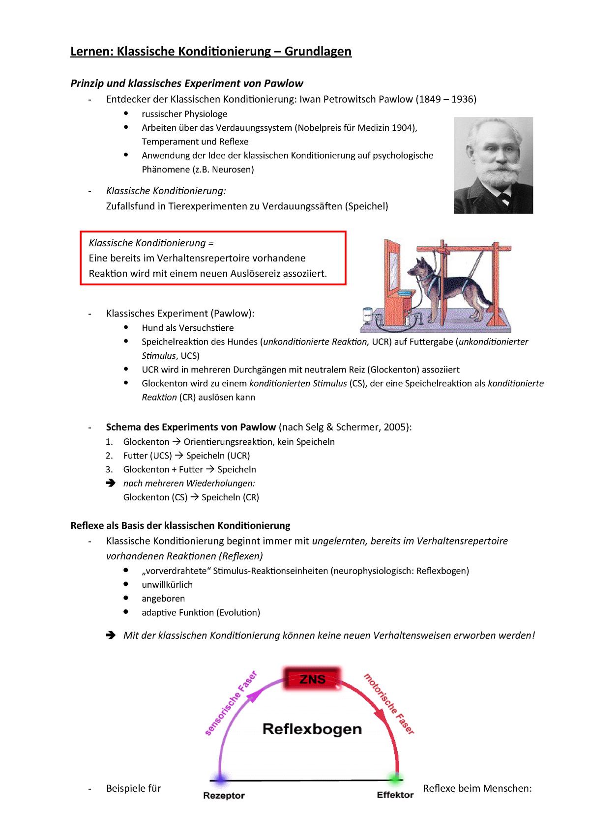 2 Lernen Klassische Konditionierung Studocu