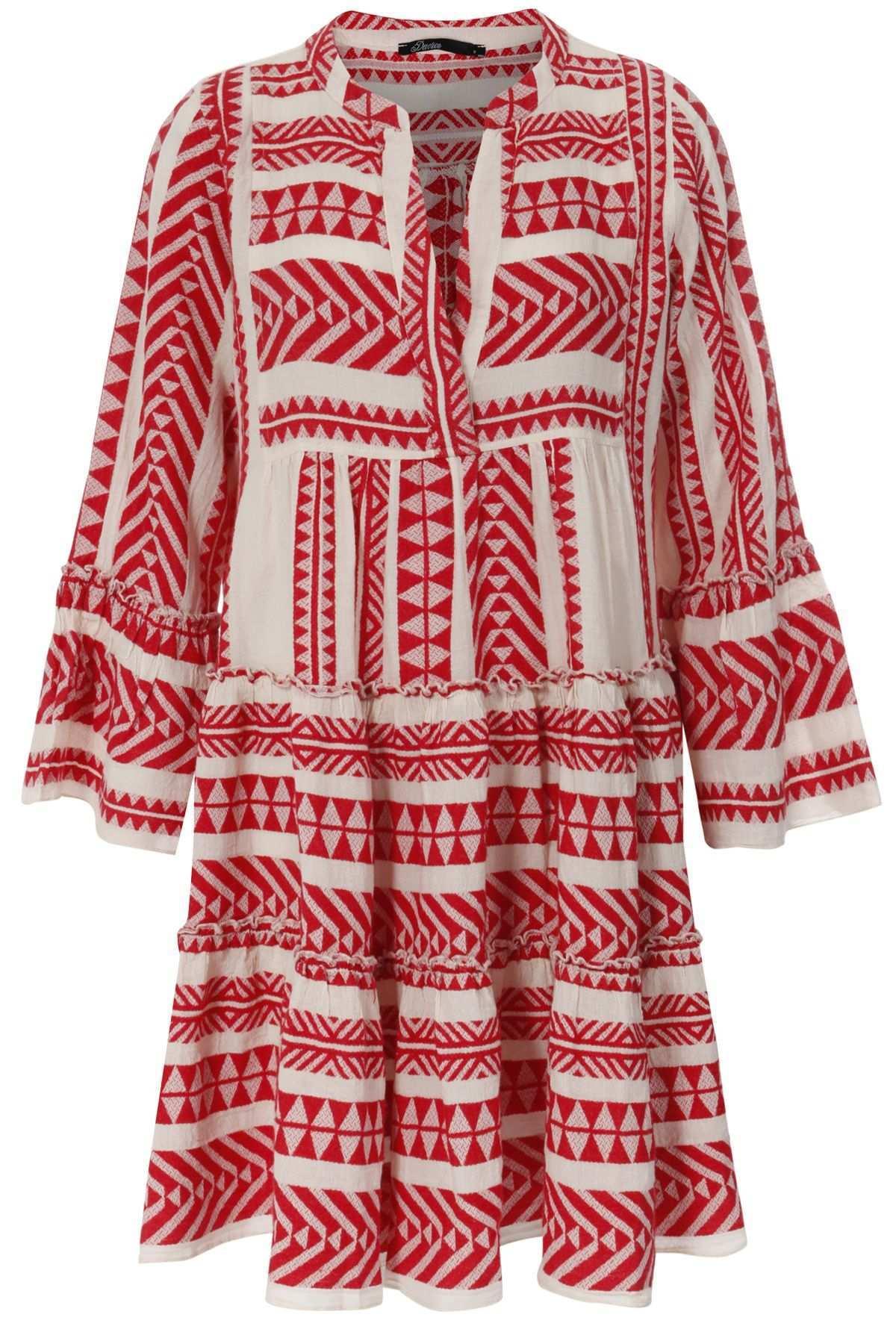 Gemustertes Tunikakleid Aus Baumwolle Rot Weiss Tunika Kleid Kleider Legere Kleider