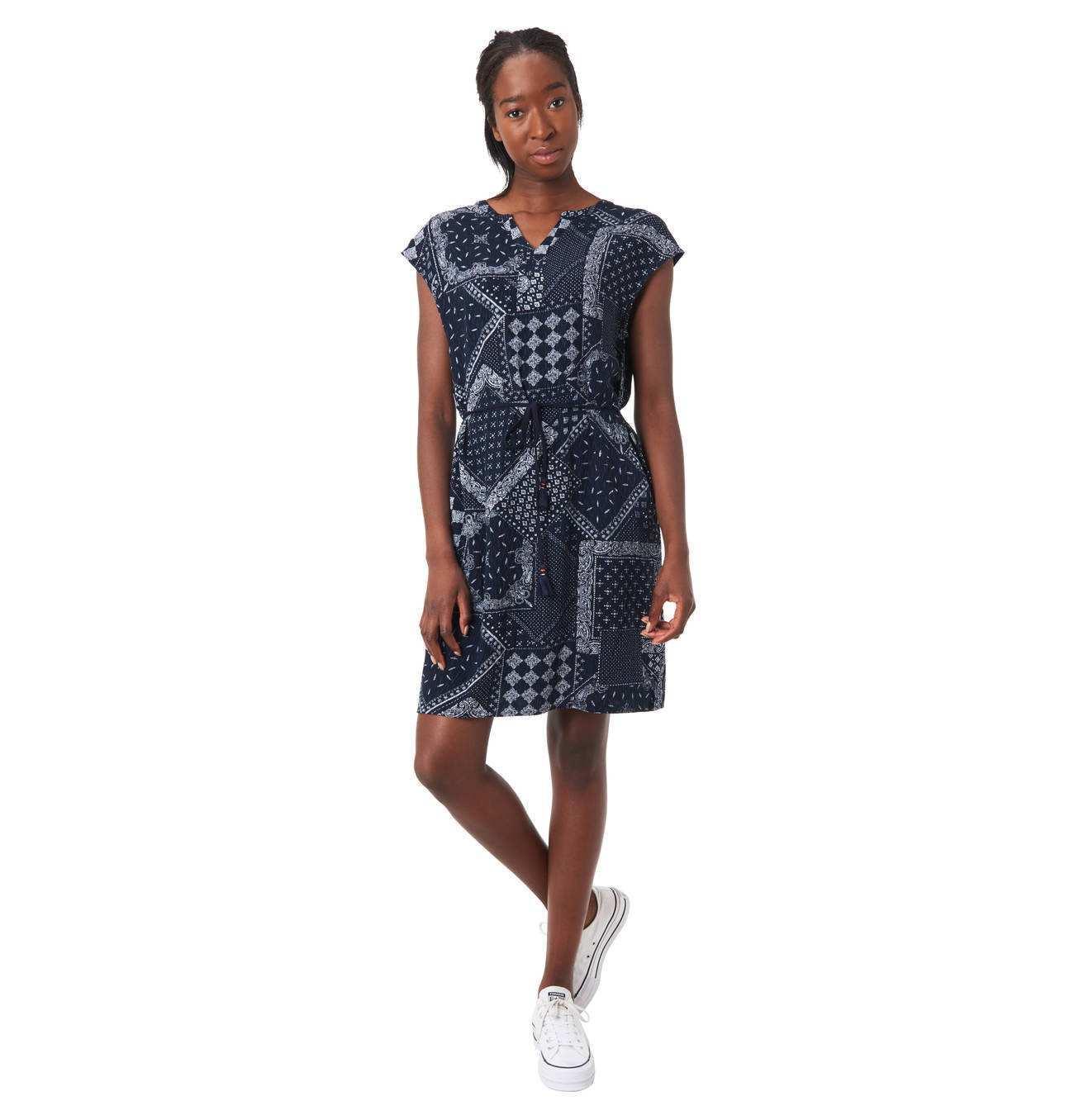 Kleid Ethno Muster Split Neck Bindegurtel Mit Quasten Kleid Arbeit Modestil
