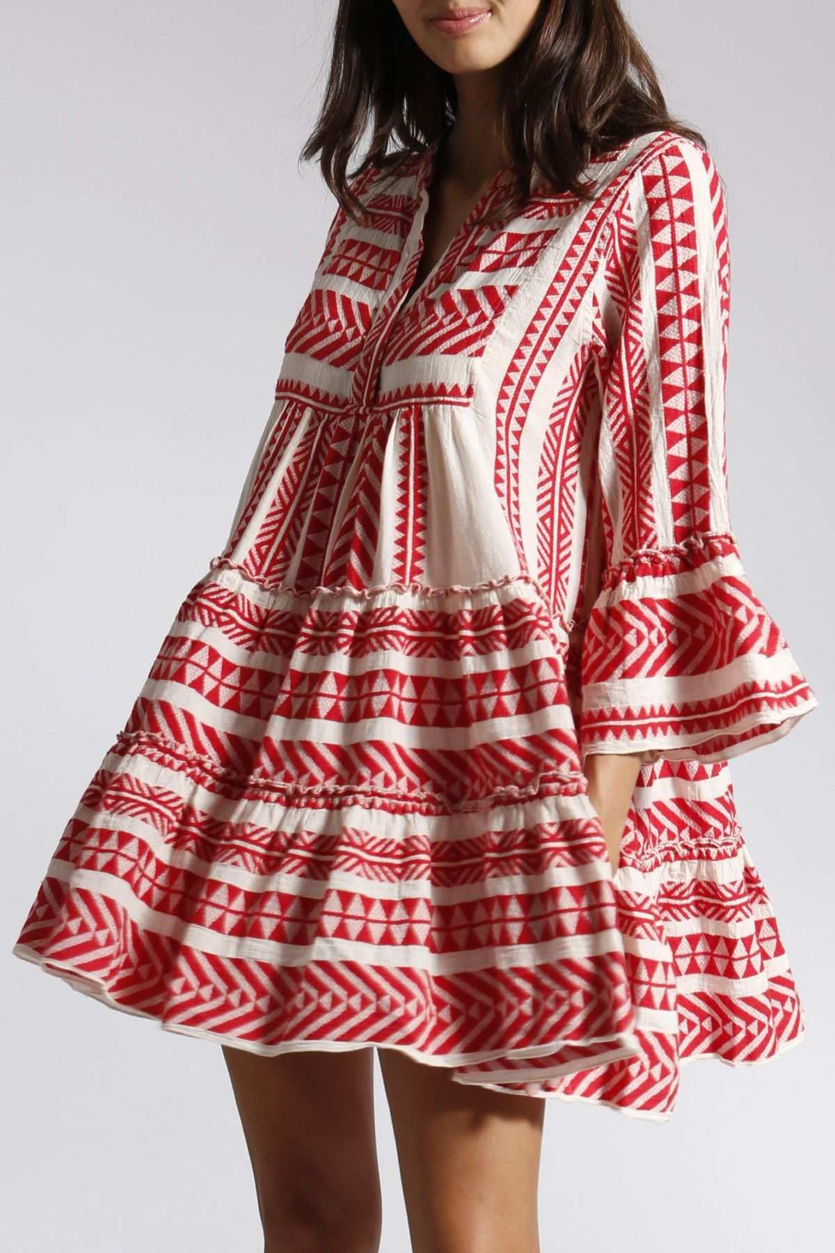 Gemustertes Tunikakleid Aus Baumwolle Rot Weiss Tunika Kleid Kleider Lassiges Kleid
