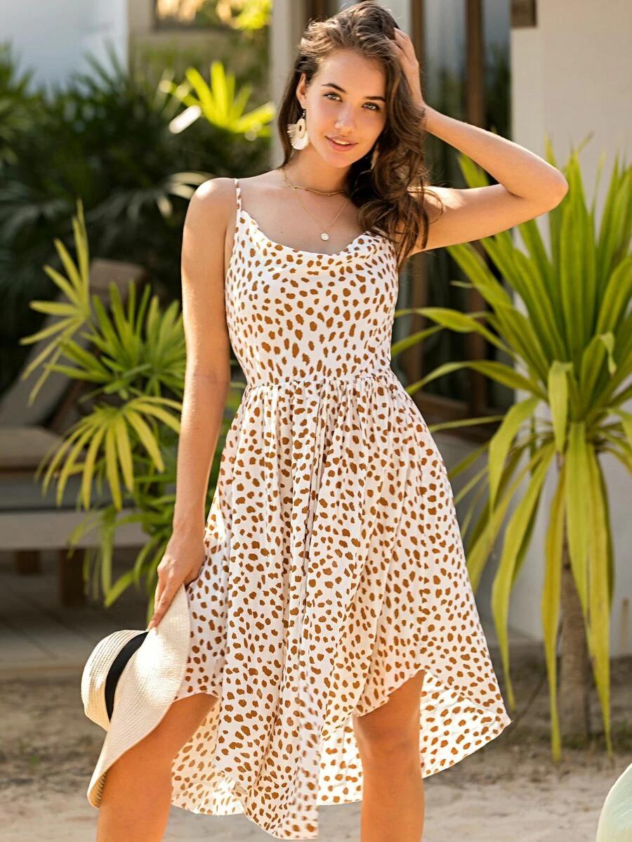 Cami Kleid Mit Muster Aktuelle Trends Gunstig Kaufen Shein Deutschland In 2020 Kleider Schone Kleider Lange Kleider