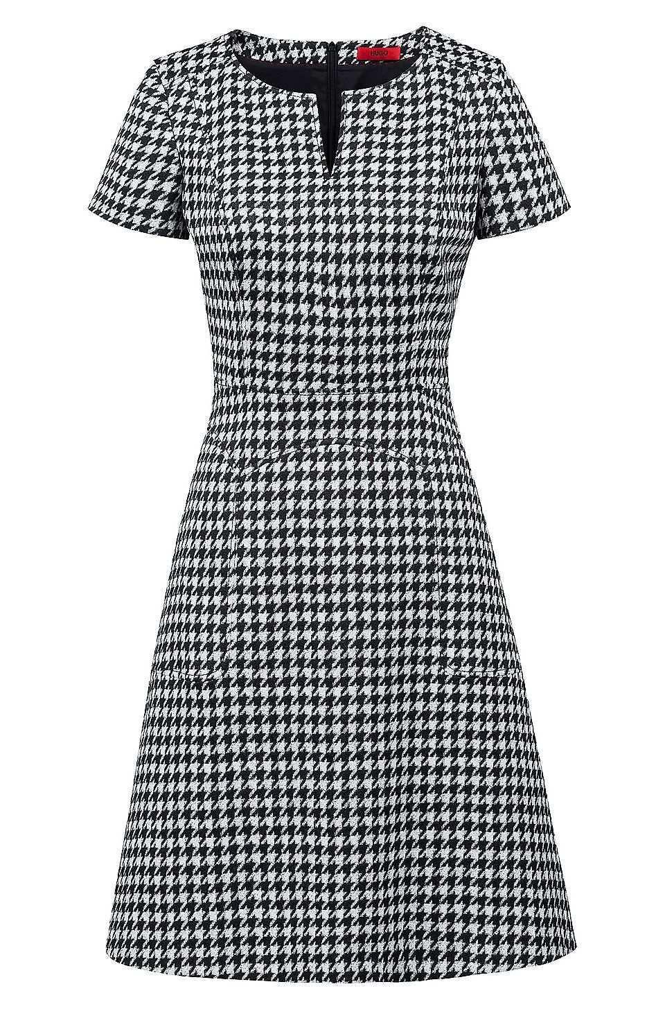 A Linien Kleid Aus Elastischem Baumwoll Mix Mit Hahnentritt Muster Gemustert Business Kleider Von Hugo Fu Vestidos Estilosos Vestido Facil Vestidos Casuais