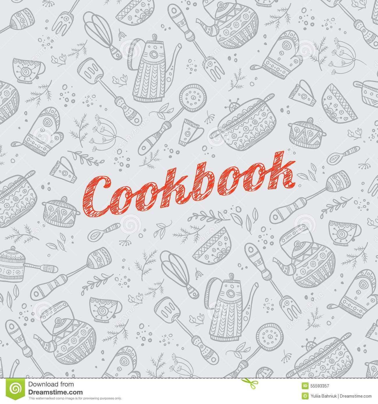Cookbook Cover With Kitchen Items Cookbook Cover Design Recipe Book Covers Cookbook