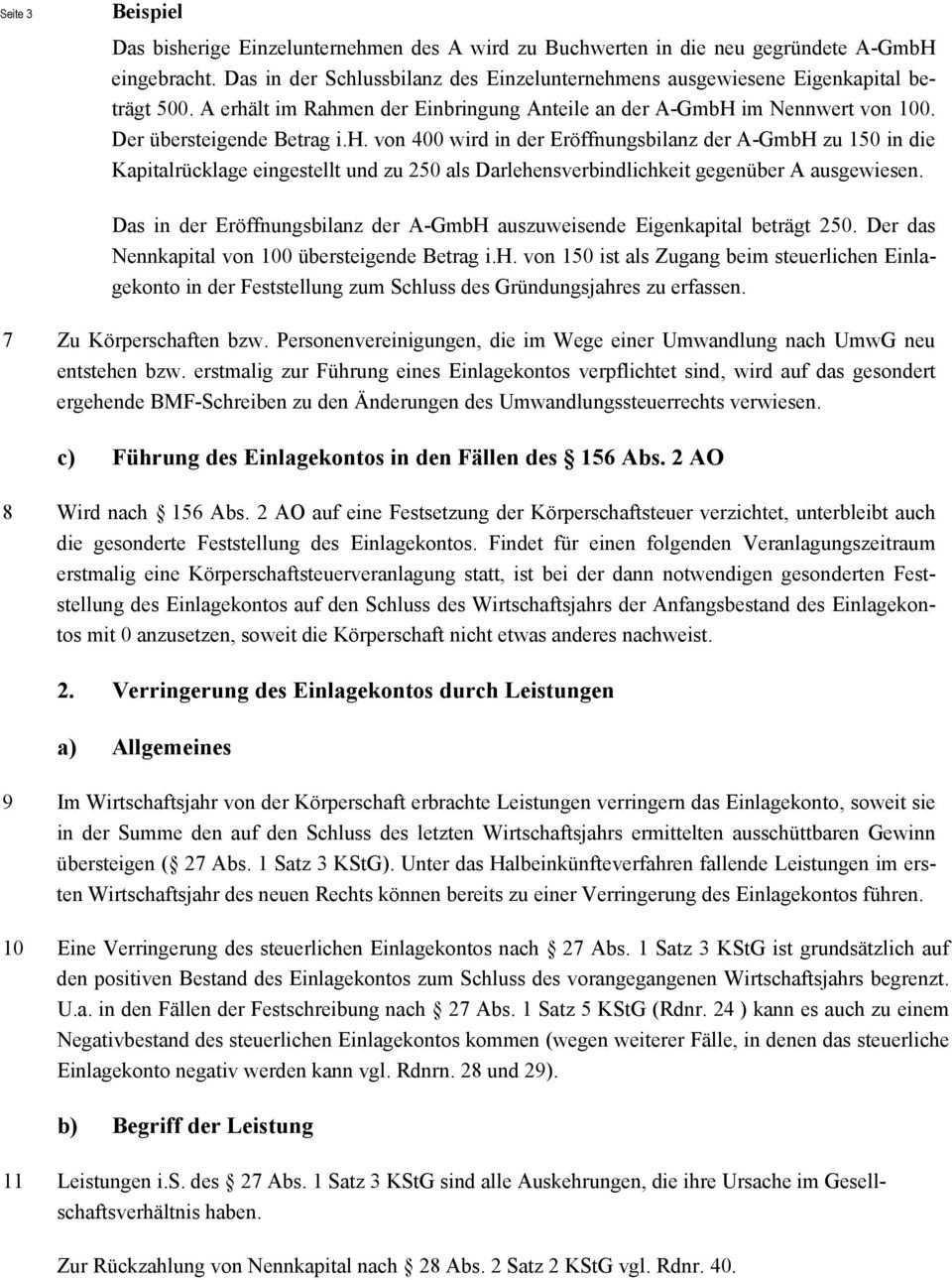 Steuerliches Einlagekonto Anwendung Der 27 Und 28 Kstg 2002 Pdf Kostenfreier Download