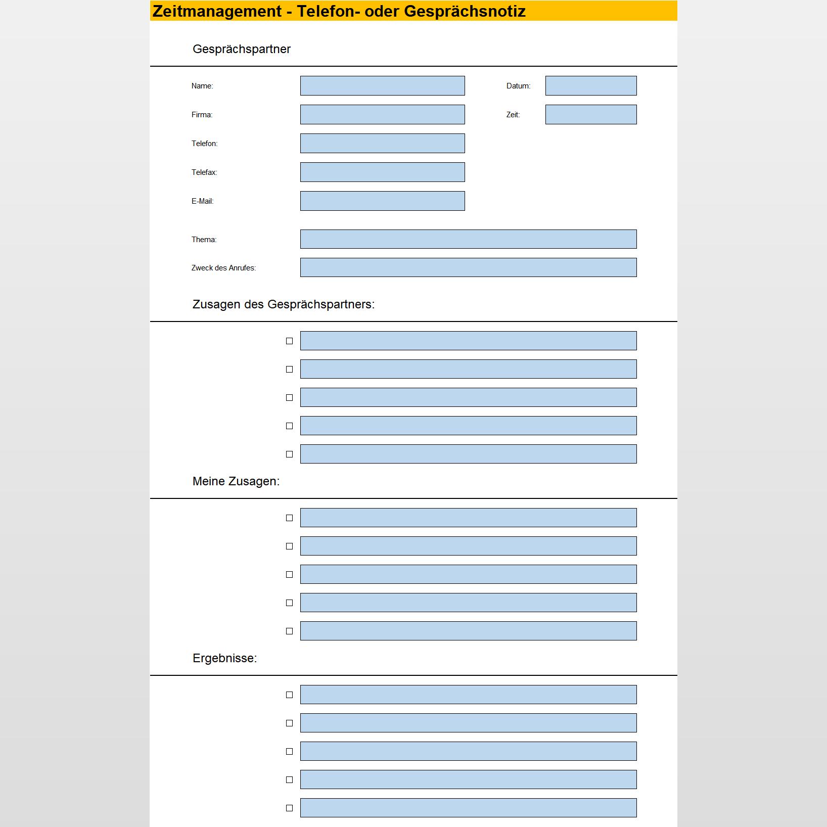 Formular Fur Gesprachsnotizen Excel Tabelle Business Wissen De