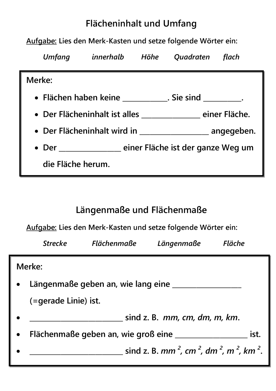 Arbeitsblatt Merkblatt Ausfullen Zu Flacheninhalt Umfang Langenmasse Flachenmasse Unterrichtsmaterial Im Fach Mathematik Flacheninhalt Langenmasse Merken