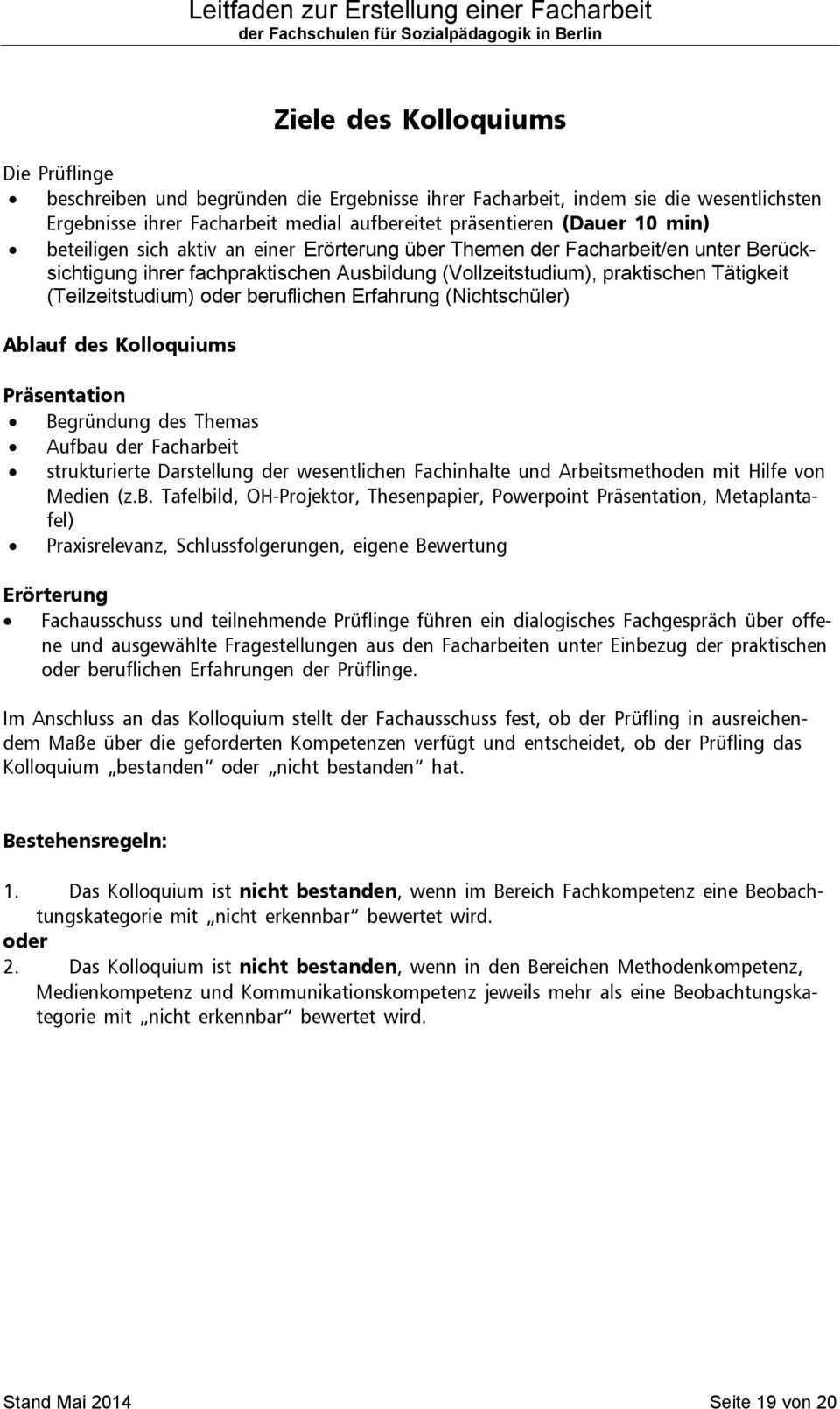 Leitfaden Zur Erstellung Einer Facharbeit Der Fachschulen Fur Sozialpadagogik In Berlin Pdf Free Download