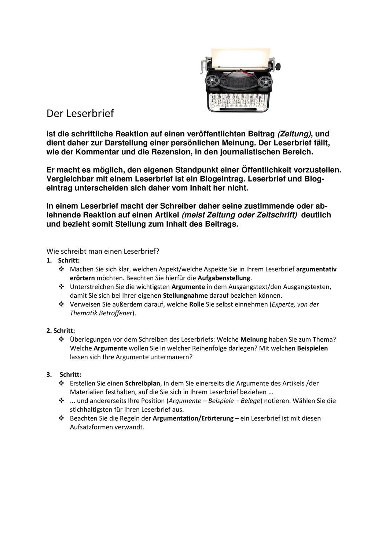 Leserbrief Leicht Gemacht Unterrichtsmaterial Im Fach Deutsch Brief Deutsch Unterricht Klassenarbeiten