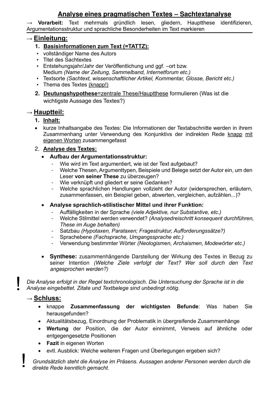 Gliederung Einer Sachtextanalyse Merkblatt Unterrichtsmaterial Im Fach Deutsch Sachtextanalyse Unterrichtsmaterial Merken