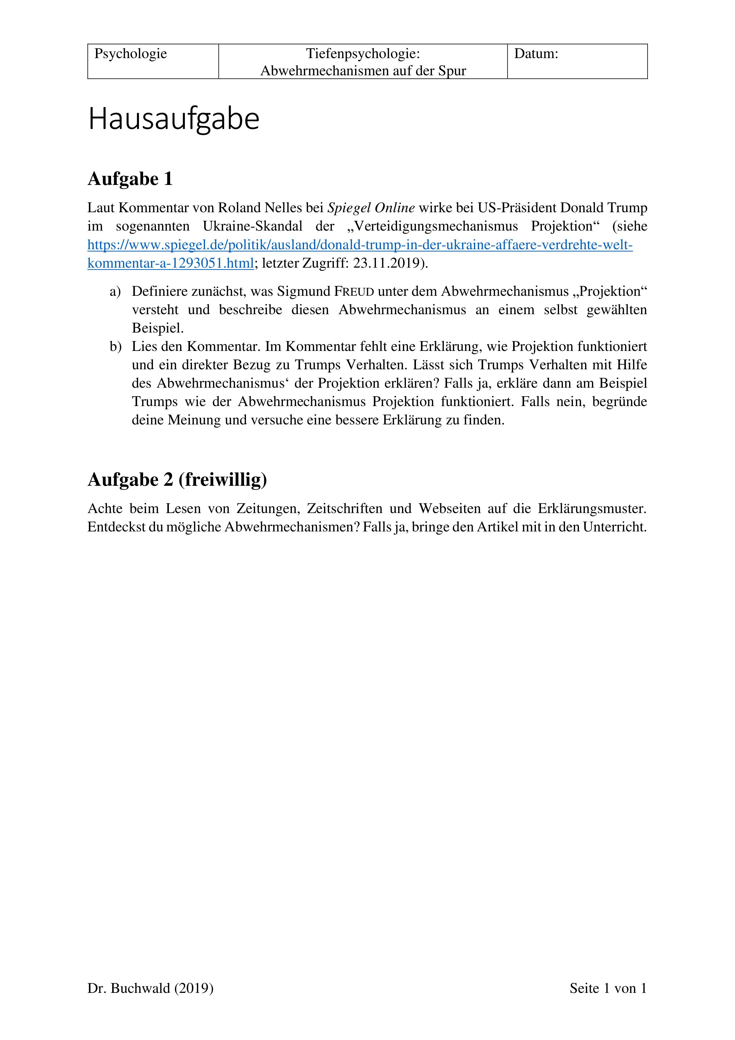Abwehrmechanismus Projektion Trump Hausaufgabe Psychologie Unterrichtsmaterial Im Fach Psychologie Hausaufgaben Psychologie Unterrichtsmaterial