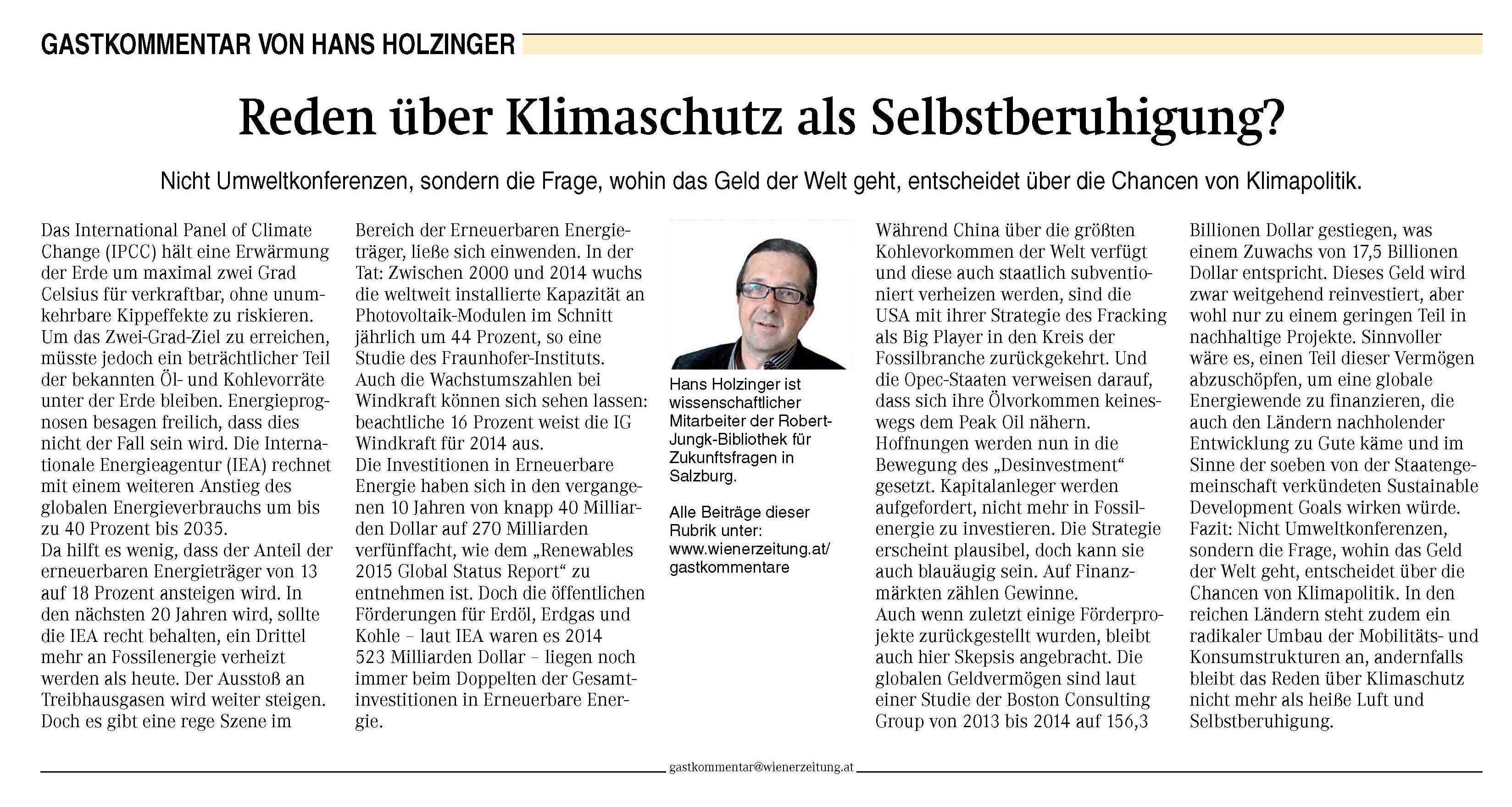 Jbz Kommentar In Wiener Zeitung Zu Klimakonferenz Die Robert Jungk Bibliothek Fur Zukunftsfragen Jbz
