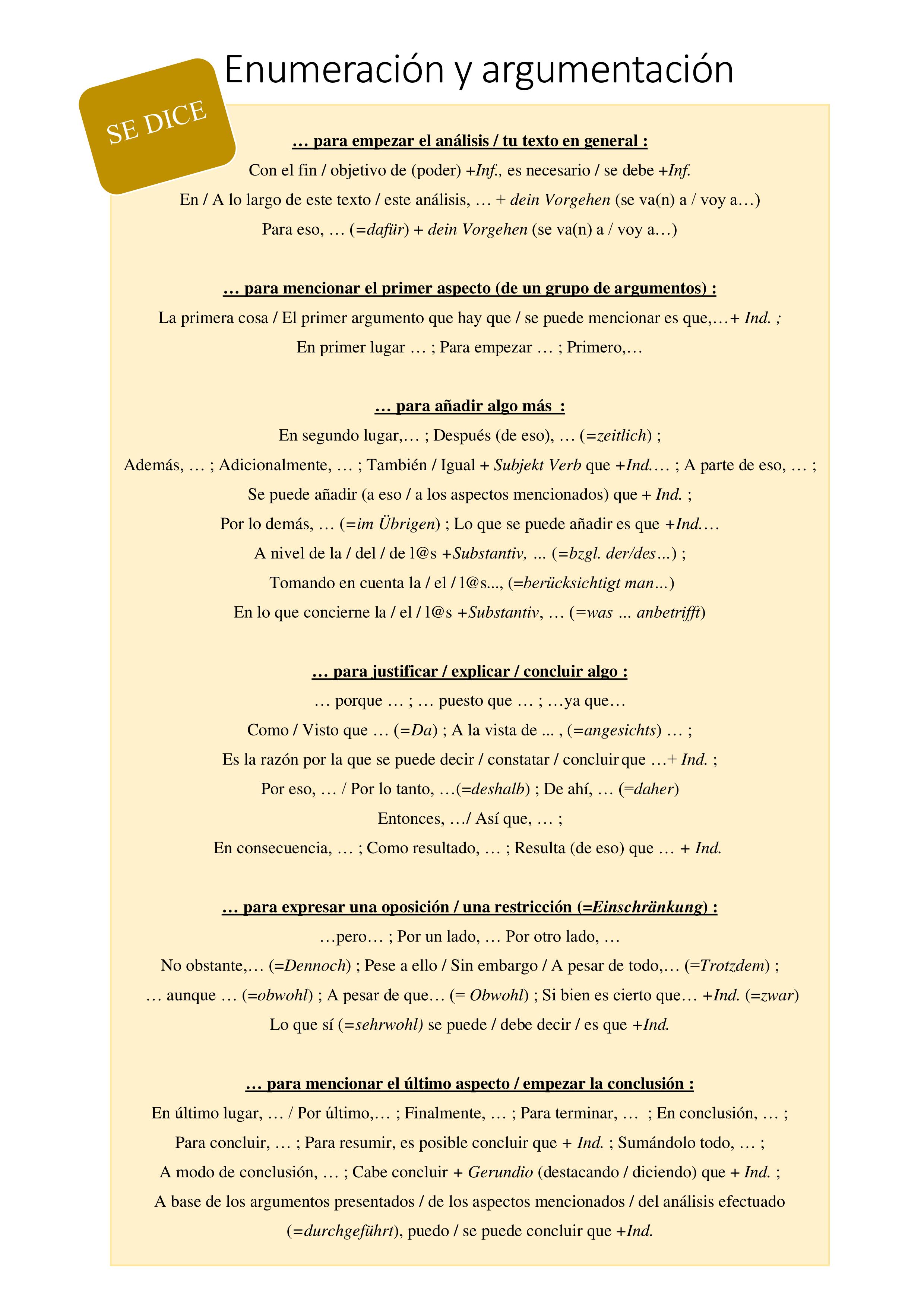 Spanische Redemittel Fur Argumentation Und Analyse Unterrichtsmaterial Im Fach Spanisch Spanisch Unterrichtsmaterial Unterrichtsfach