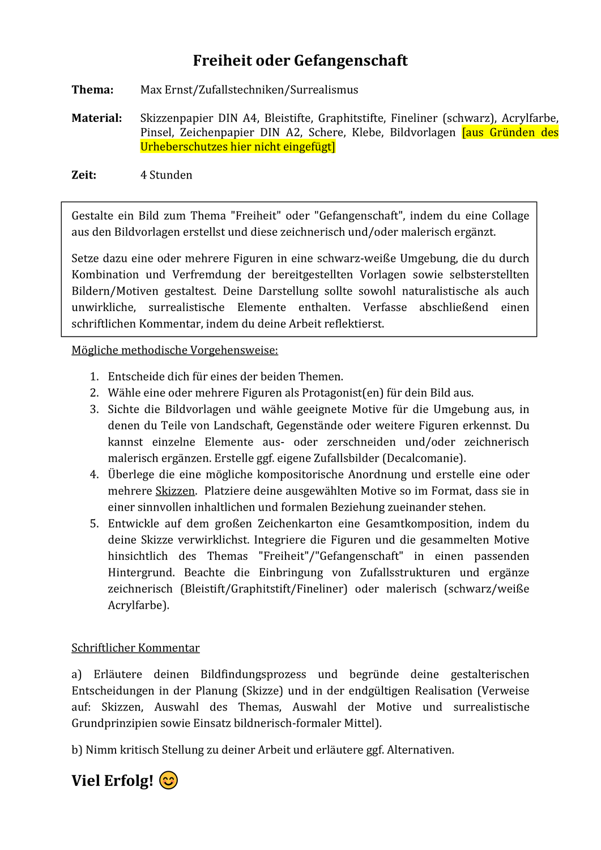 Klausur Max Ernst Praxis Inkl Ewh Unterrichtsmaterial Im Fach Kunst Max Ernst Graphitstift Farben Lehre
