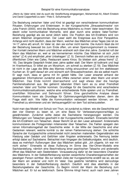 Kommunikationsanalyse Einer Kurzgeschichte Schulz Von Thun Unterrichtsmaterial Im Fach Deutsch Schulz Von Thun Kurzgeschichten Kommunikation