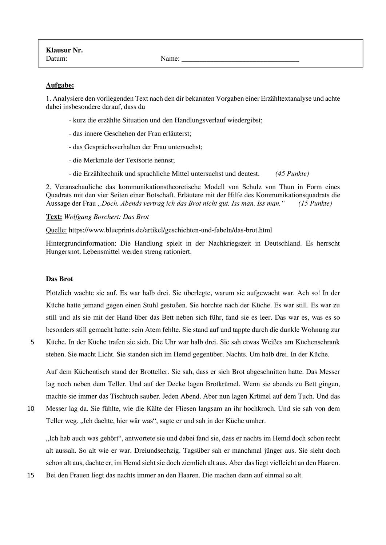 Ef Kommunikation In Kurzgeschichten Das Brot Unterrichtsmaterial Im Fach Deutsch Kurzgeschichten Kommunikation Geschichte