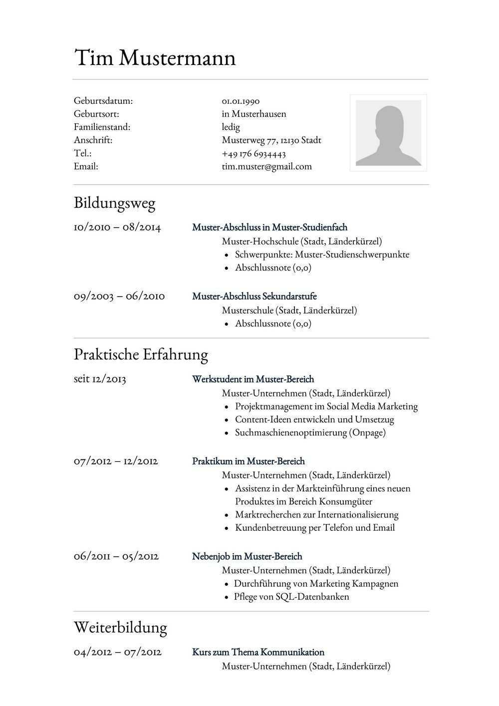 Lebenslauf Aufbau Muster Lebenslauf Beispiel Lebenslauf Muster Vorlage Beispiel Fuer Assistent Au In 2020 Resume Template Resume Template Word Document Templates