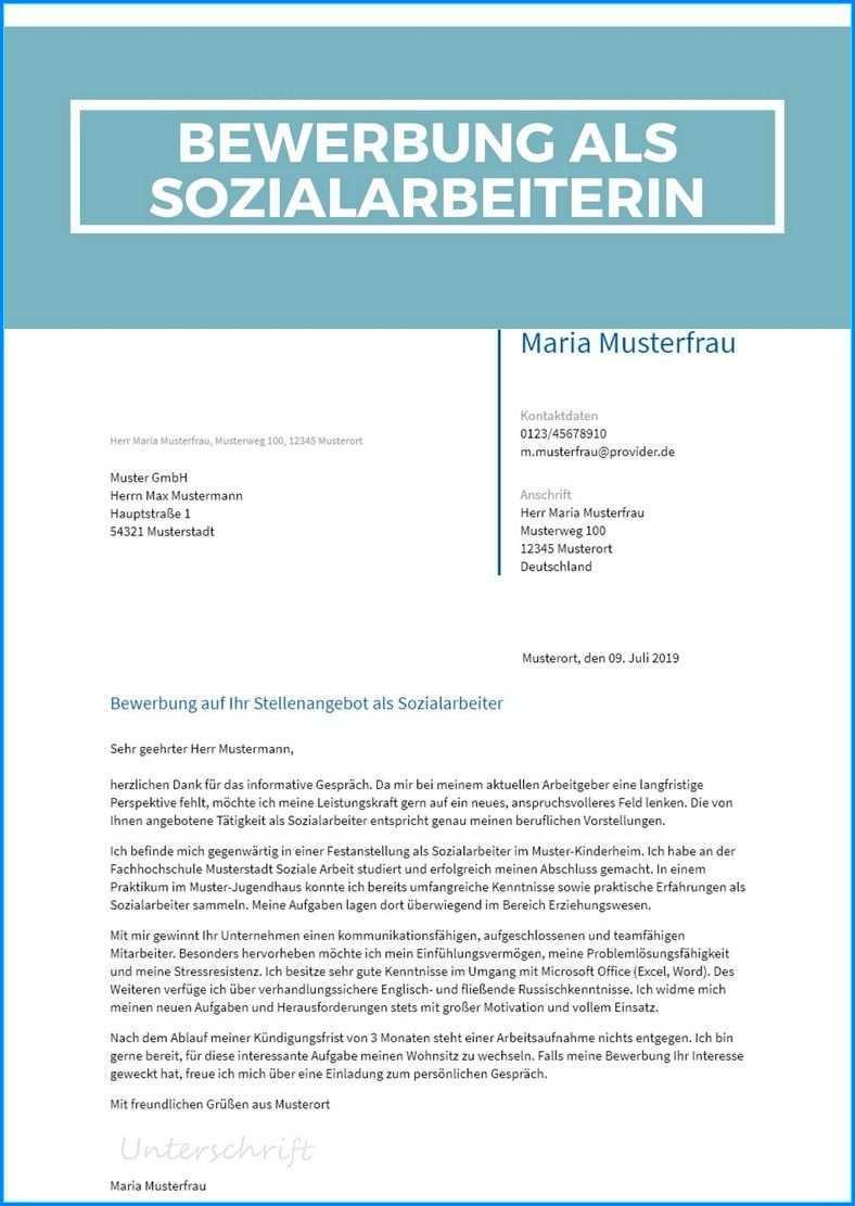 26 Beispiel Bewerbung Als Sozialarbeiterin Soziale Arbeit Sozial Bewerbung Anschreiben Muster