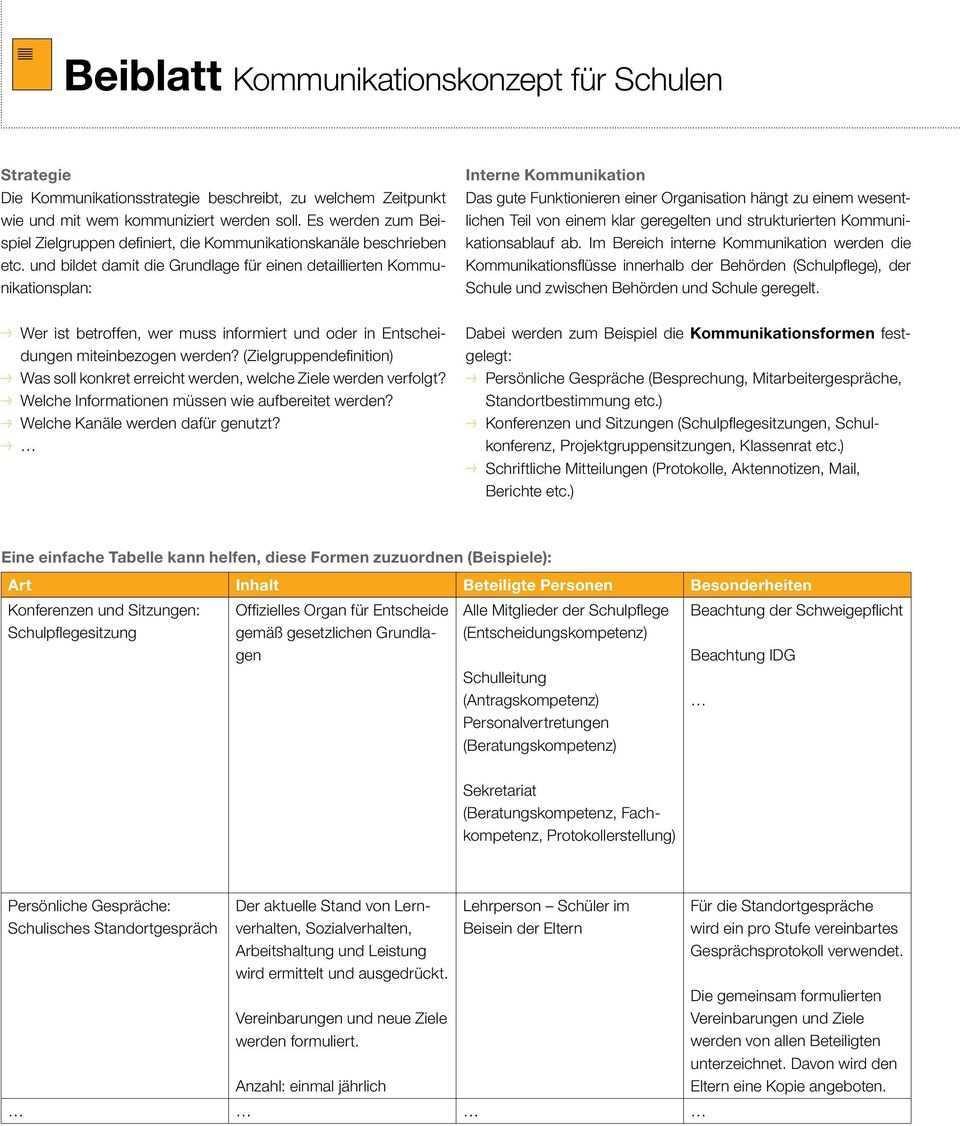 Beiblatt Geleitete Schule Beispiel Kommunikationskonzept Fur Schulen Pdf Free Download