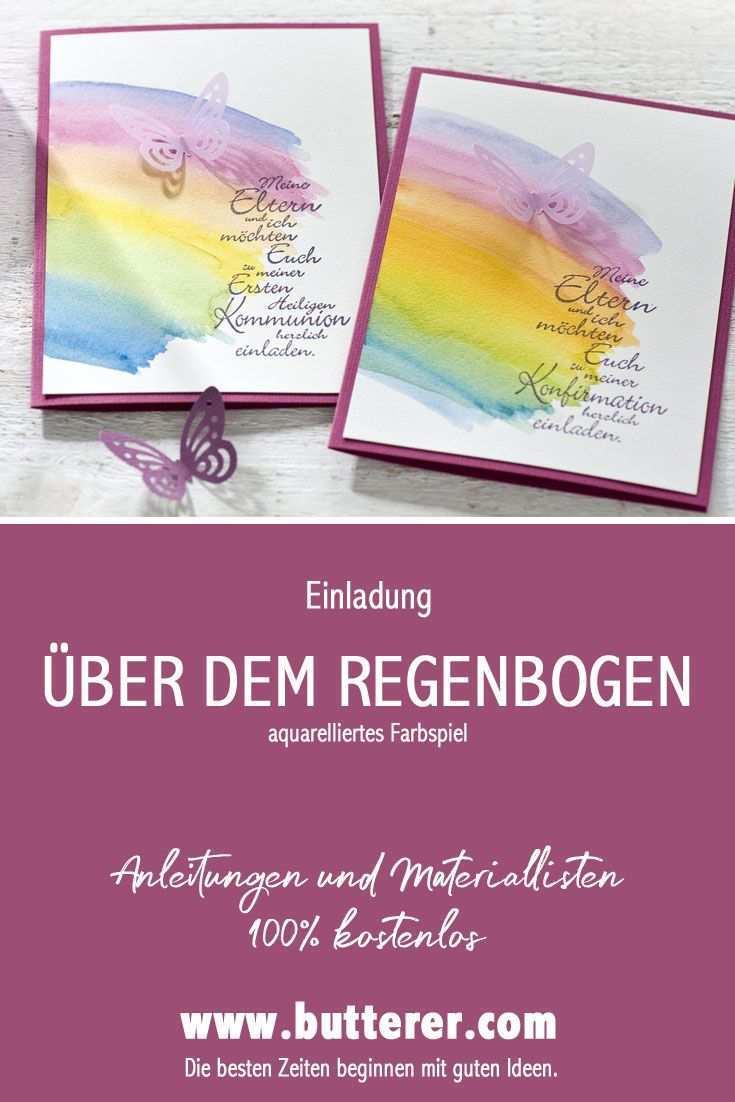 Diy Kommunion Und Konfirmation Uber Dem Regenbogen Einladung Kommunion Konfirmation Einladung Taufe