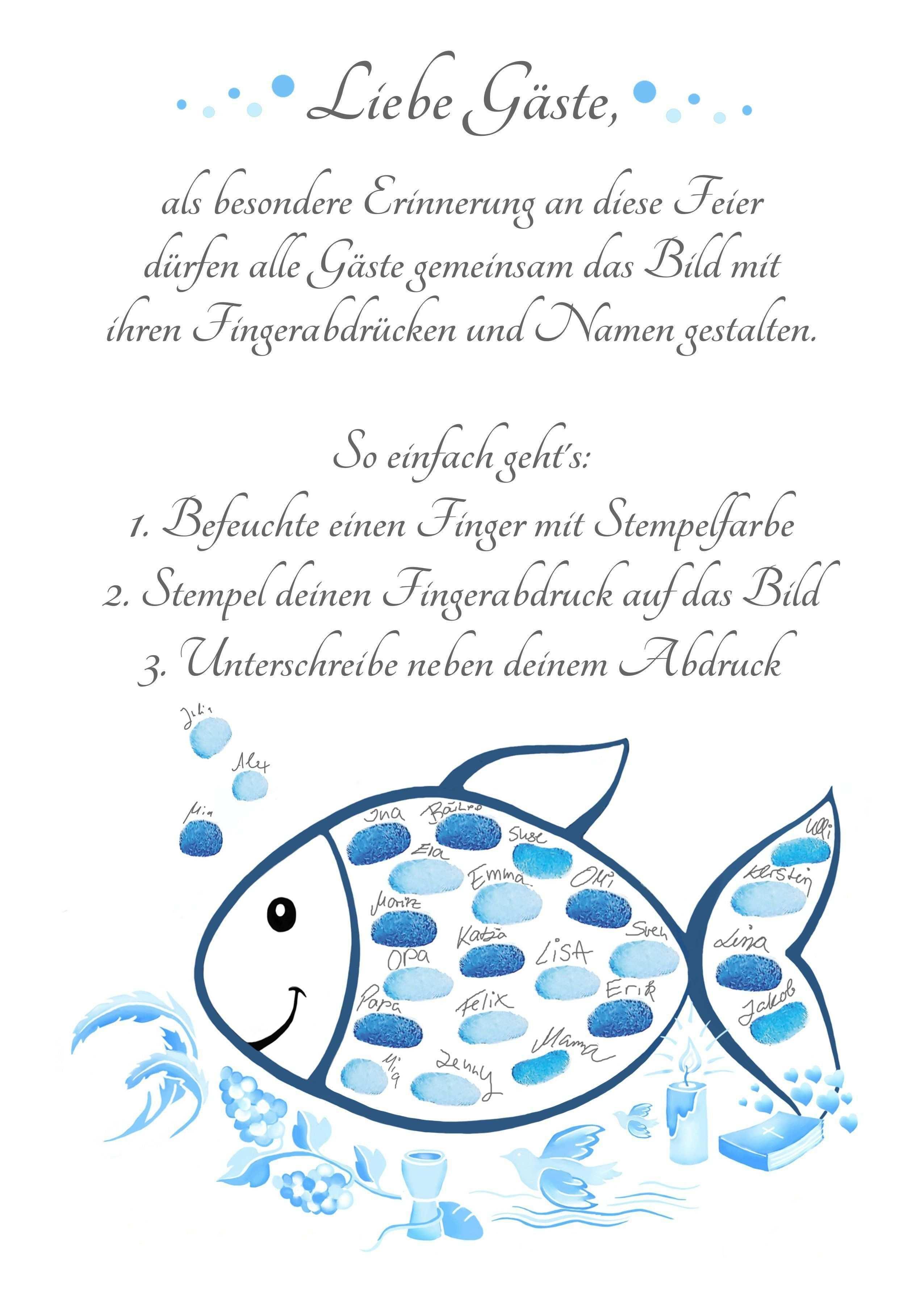 Tauffisch Fingerabdruck Taufe Fisch Blau Taufdeko Und Taufgeschenk Geschenke Zur Kommunion Taufe Fisch Kommunion